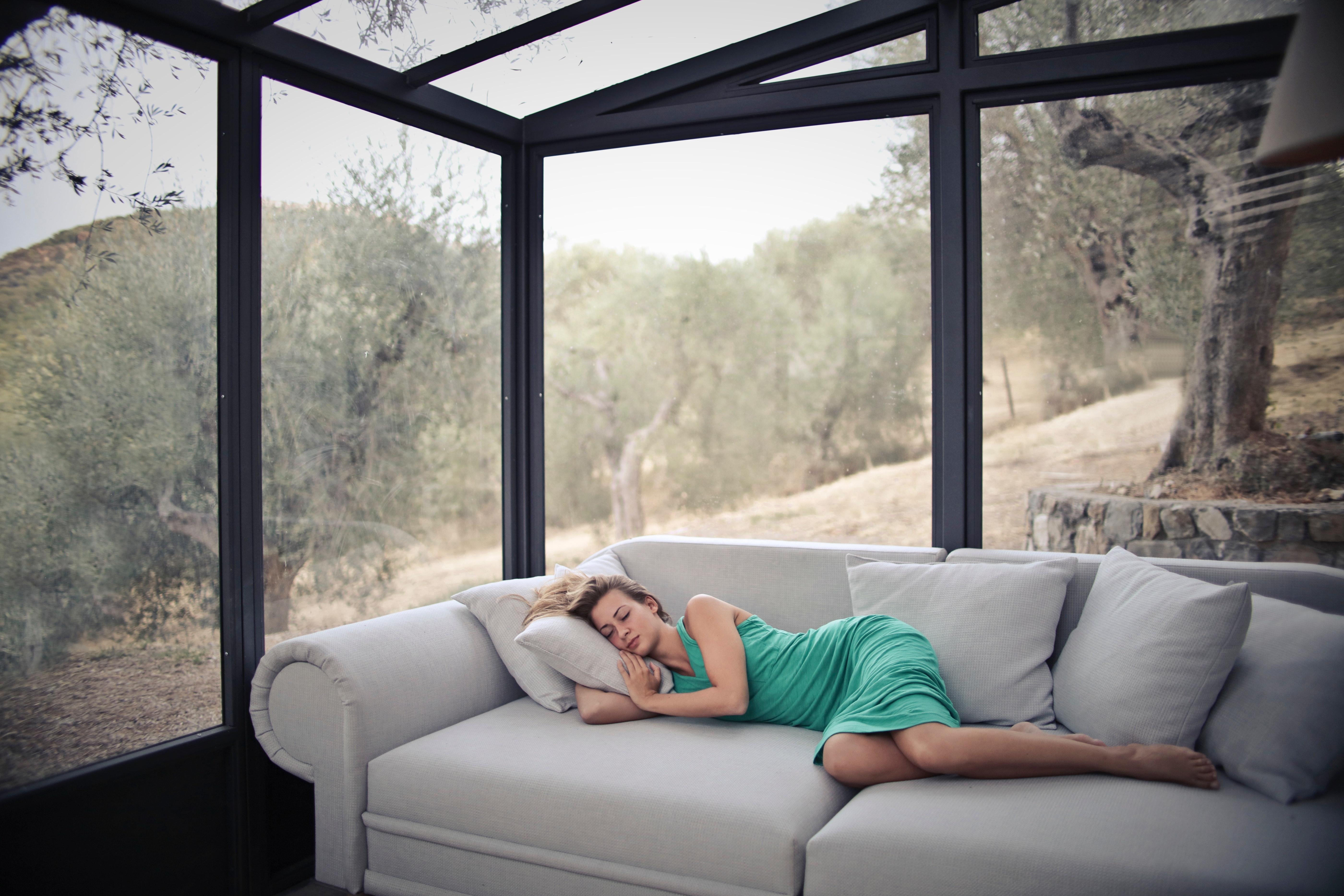 Woman Sleeping On Sofa With Throw Pillows, Relax, Window, Sofa, Sleeping, HQ Photo