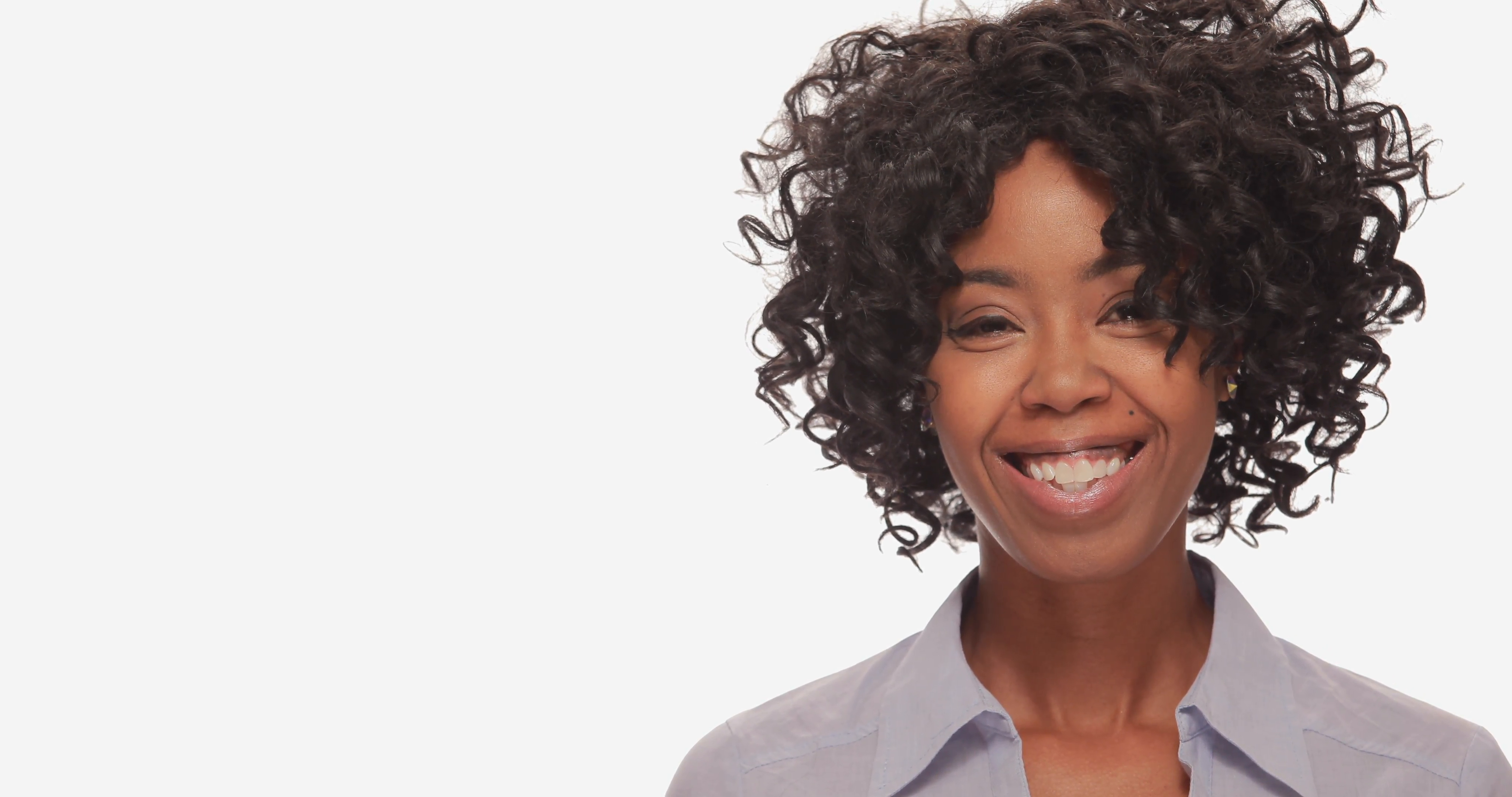 Young African American black woman smiling happy face Stock Video ...