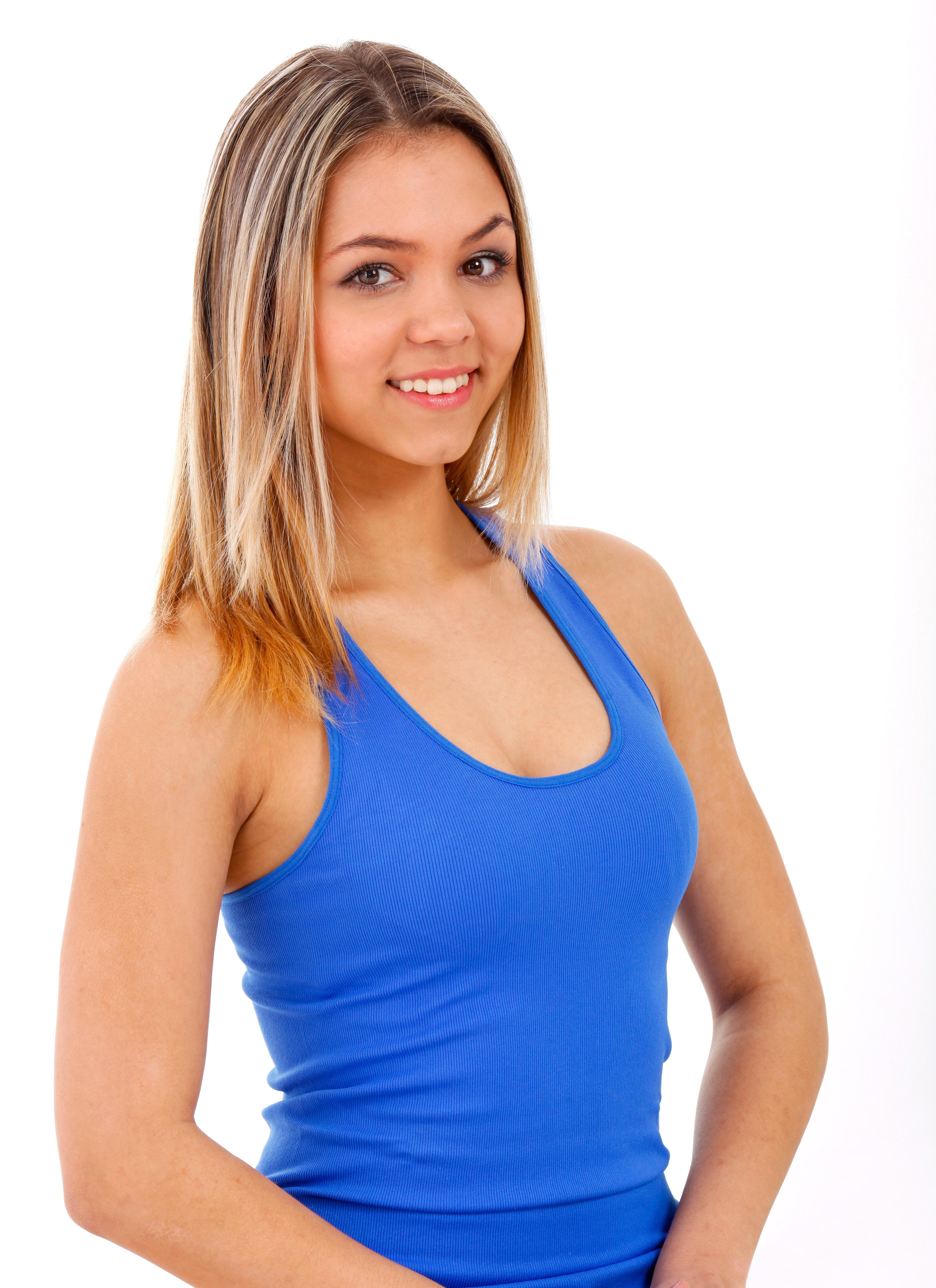 Woman Smiling While Wearing Blue Tank Top, Beautiful, Casual, Cute, Female, HQ Photo