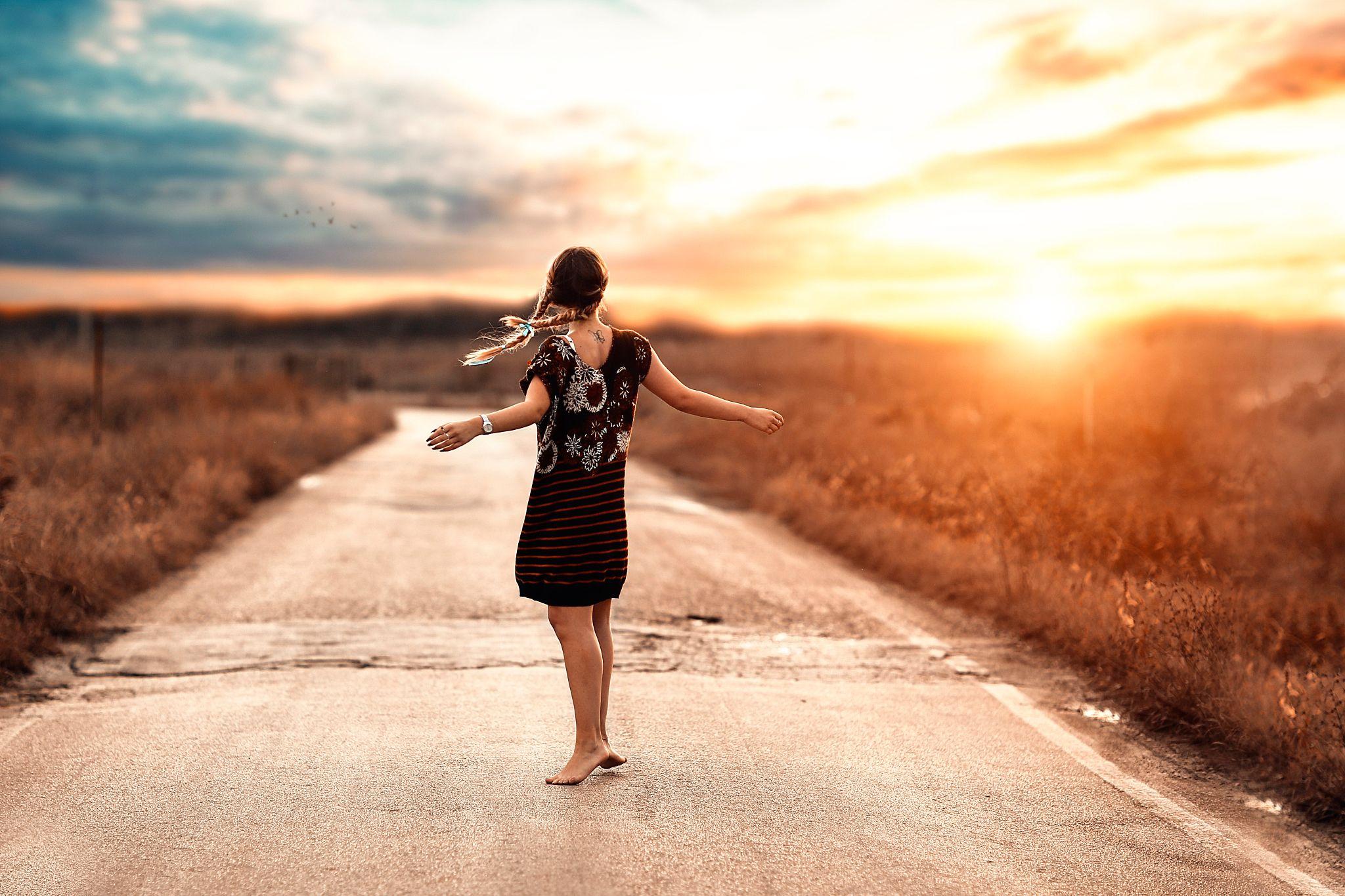 Women Rear Woman Model Tattoo Road Braid Sunrise Bokeh Outdoor Dress ...