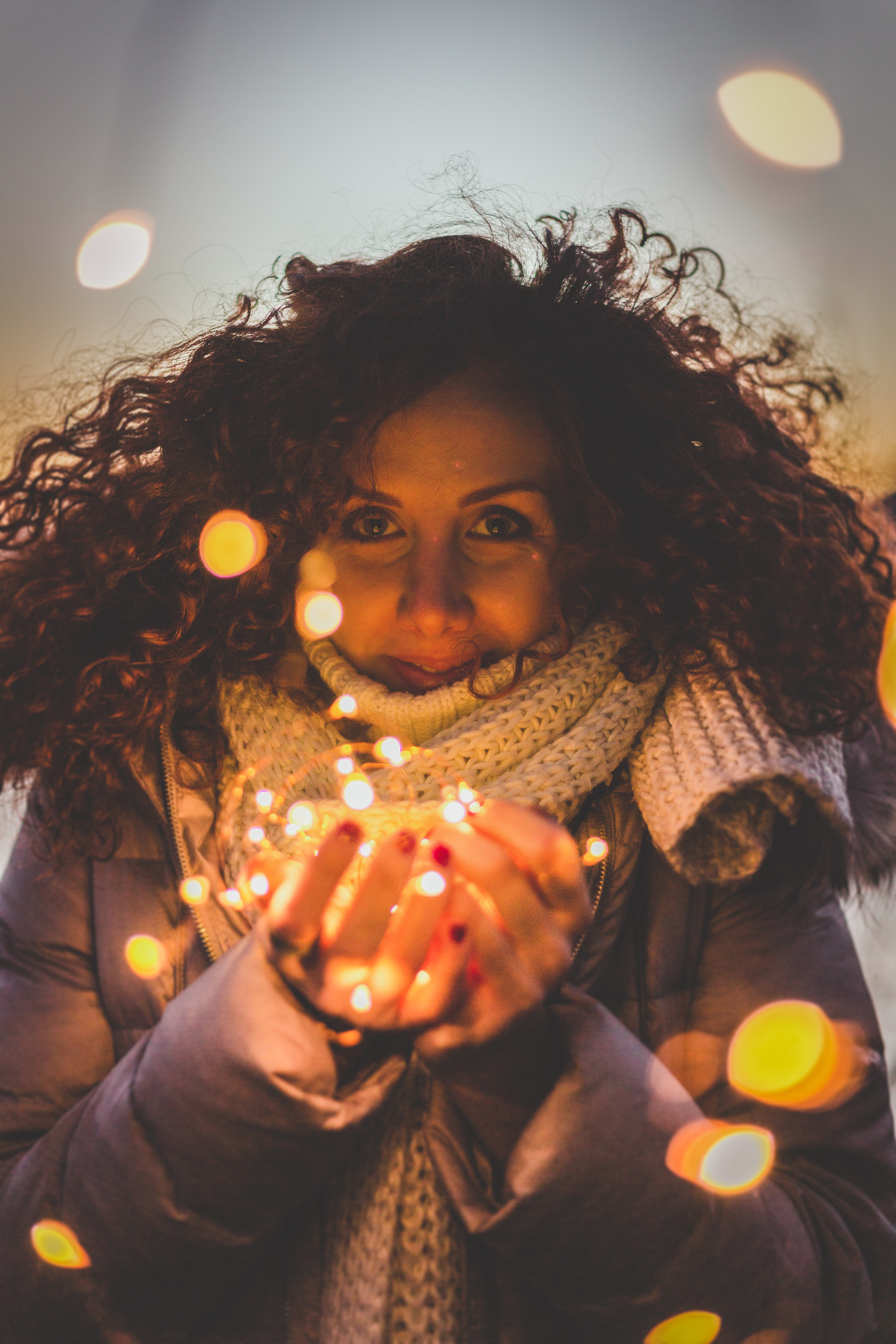 Woman Standing in Bokeh Photography, Lights, Young, Woman, Wear, HQ Photo