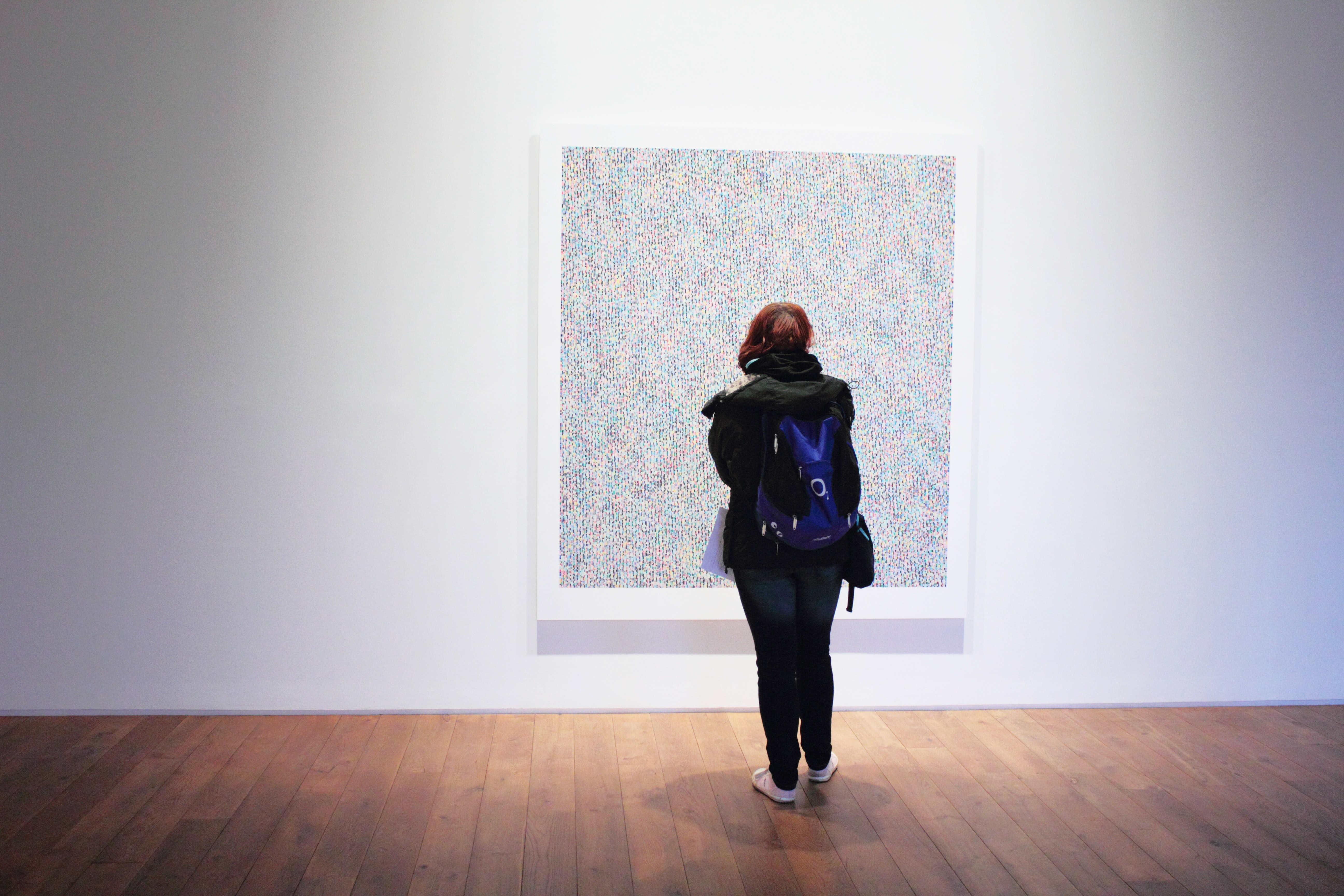 Woman Standing Infront of a Wall Mount Painting, Adult, Museum, Woman, White, HQ Photo