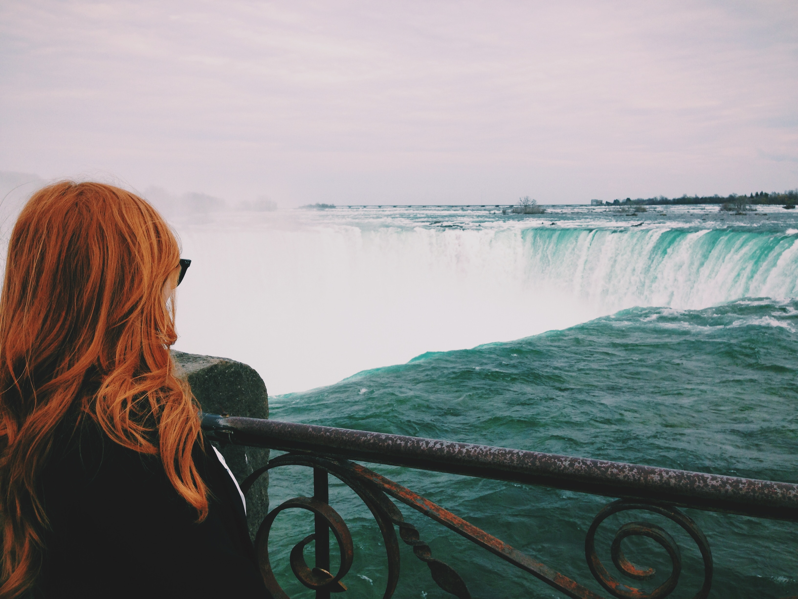 Woman Standing Near of Niagara Falls, Back, Scenic, Wind, Waves, HQ Photo