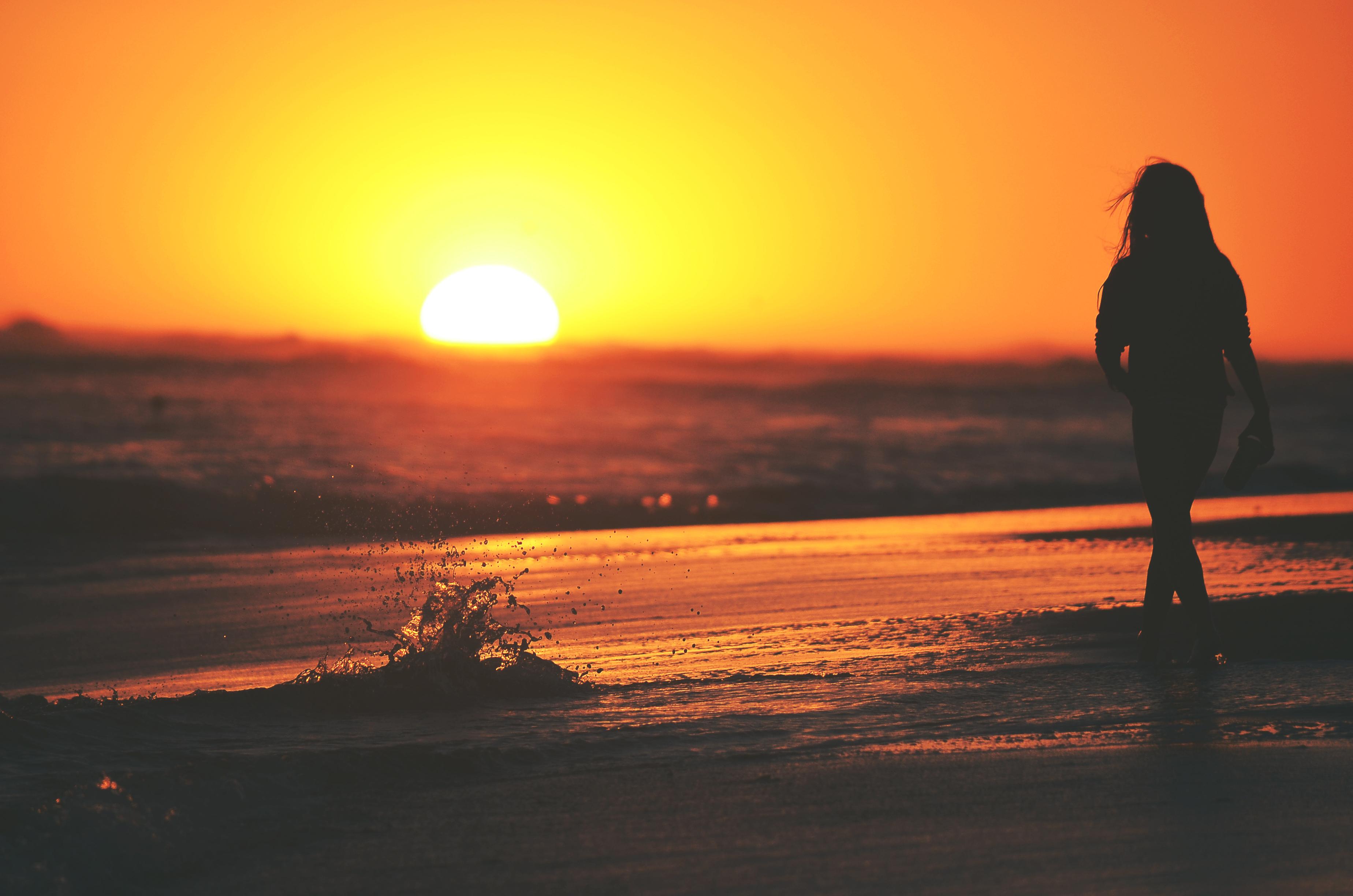Girl on Sunset Beach HD Wallpapers 21868 - Baltana