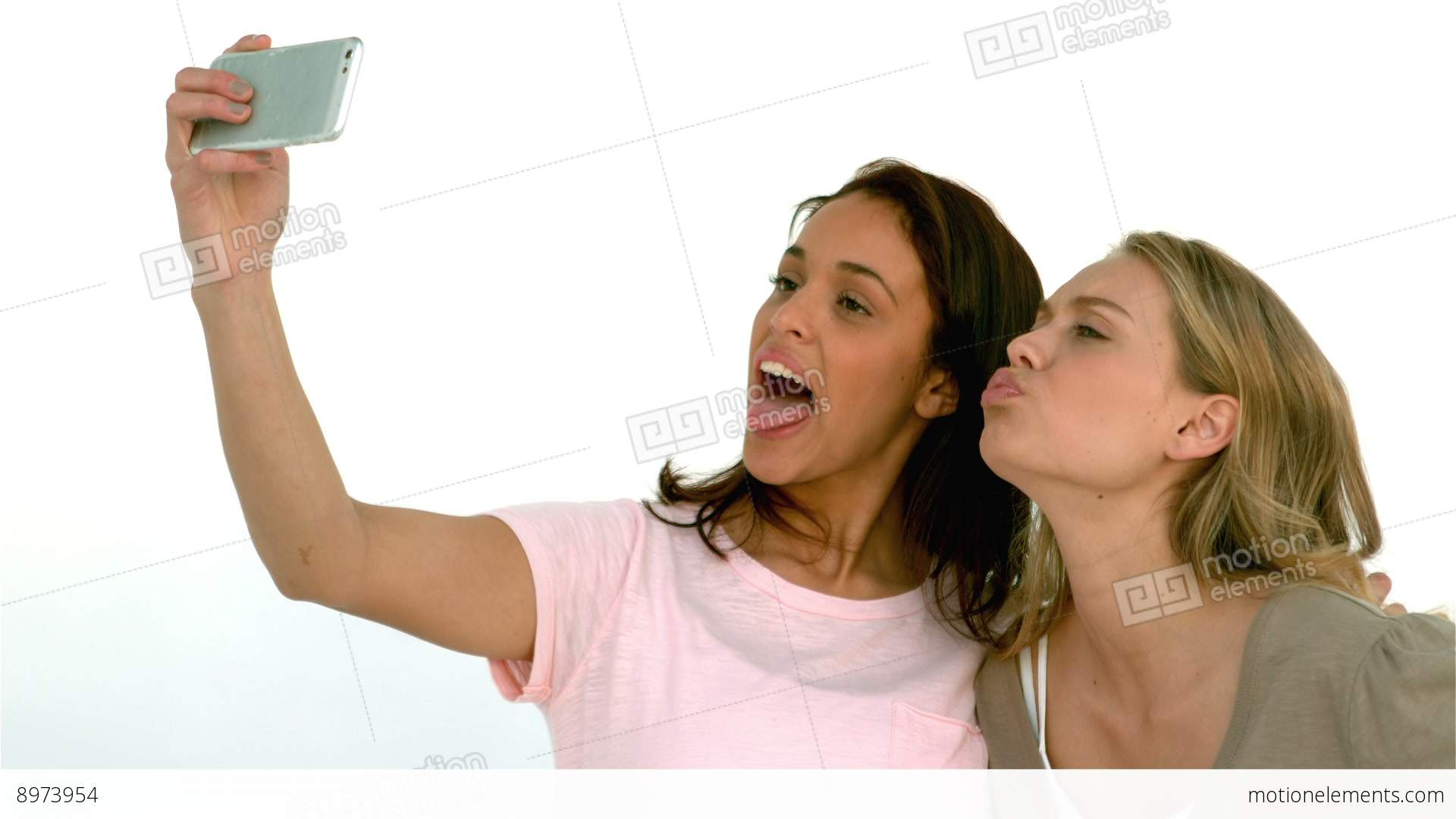 Pretty Girls Taking A Selfie Stock video footage | 8973954