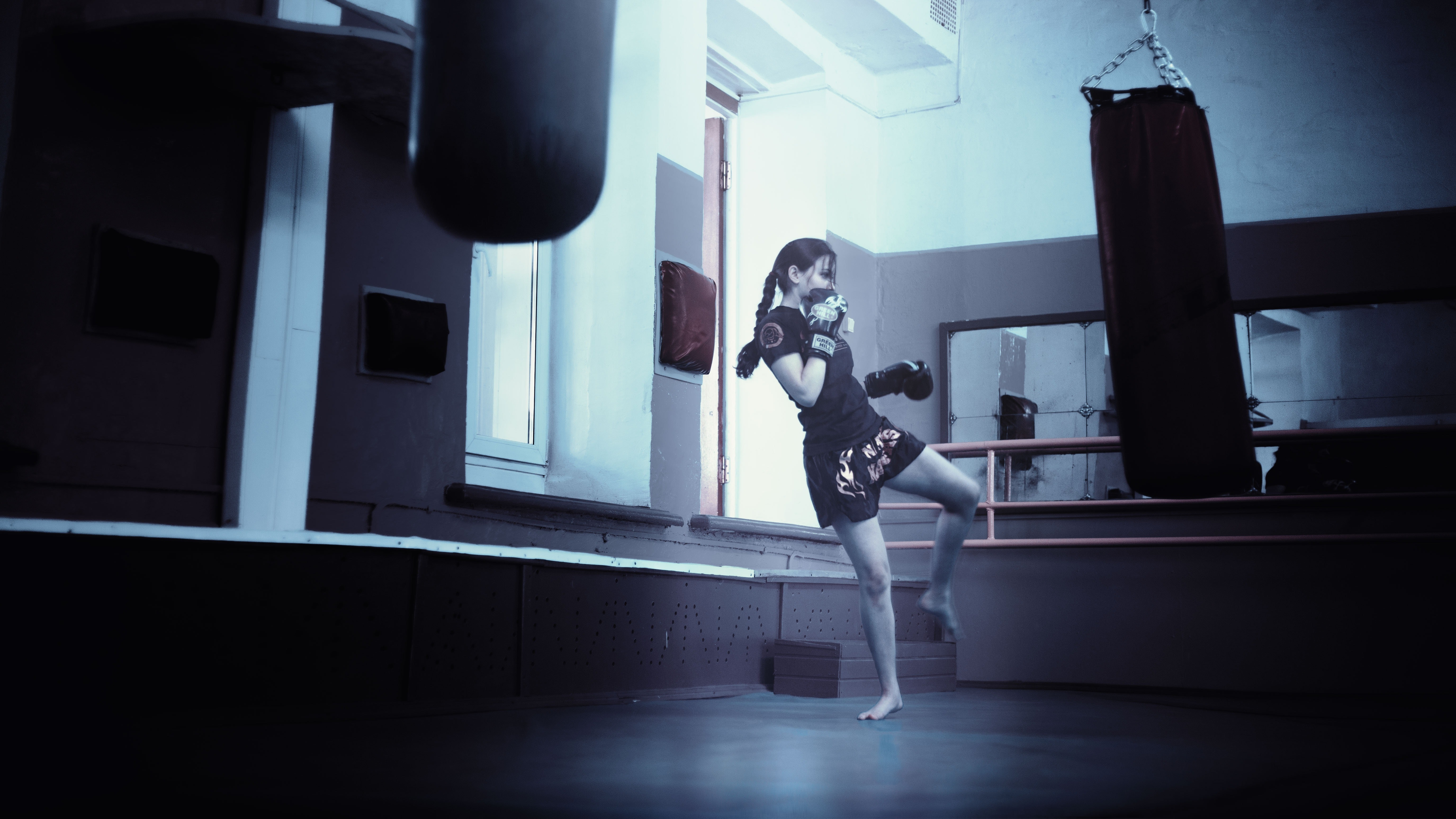 Woman Training in a Gym Kicking a Training Bag, Boxing, Exercise, Female, Girl, HQ Photo