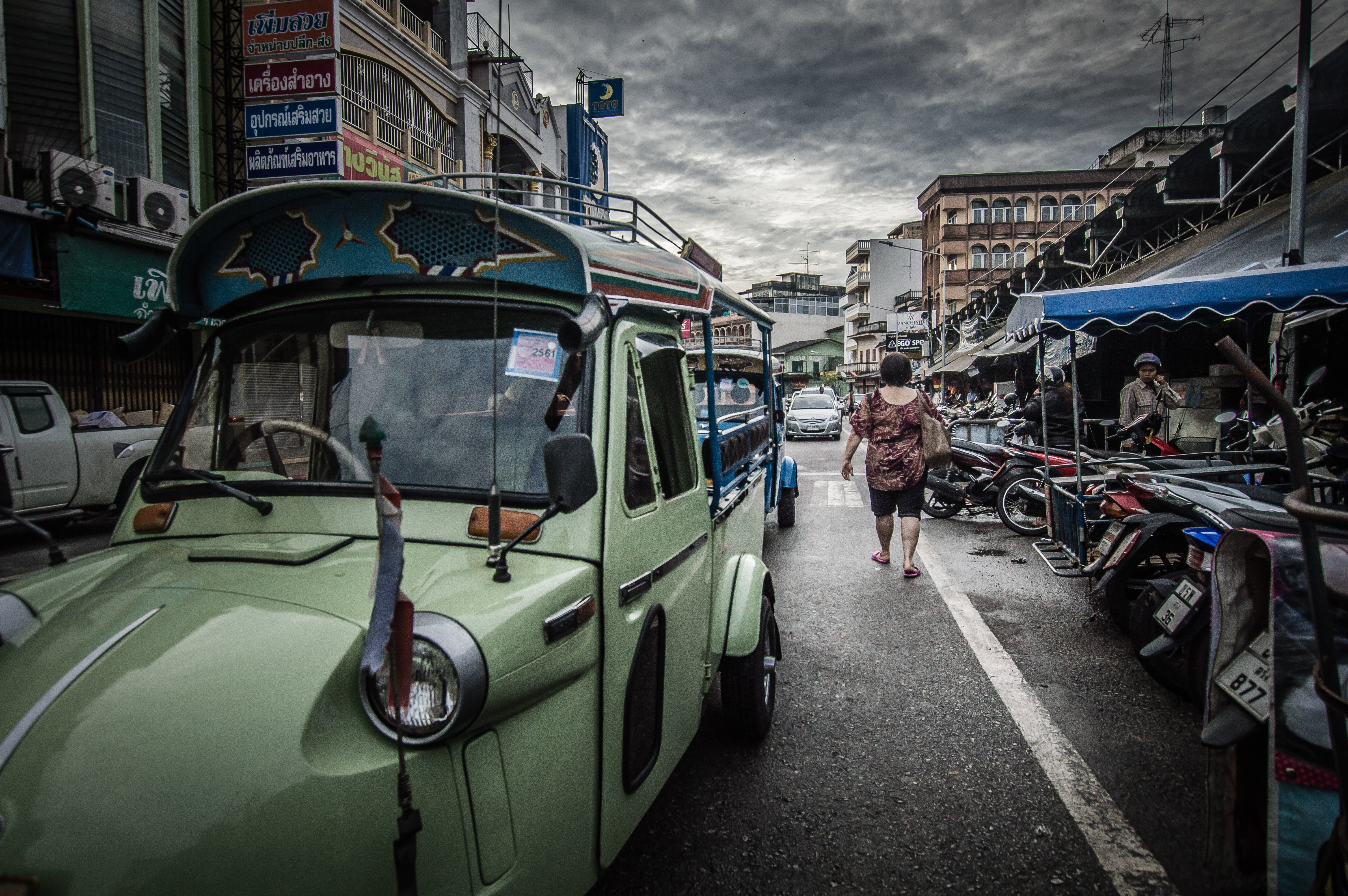 Woman walking on the street photo