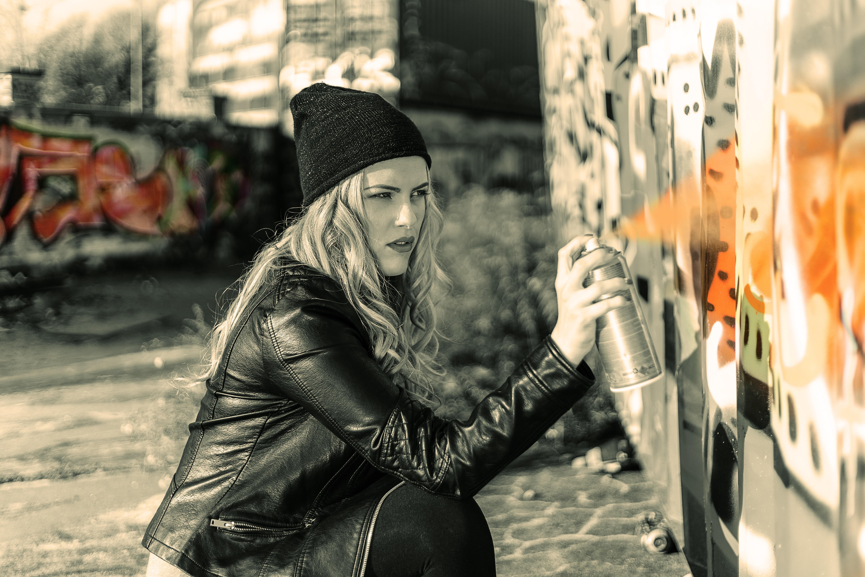 Woman wearing a black suit jacket photo