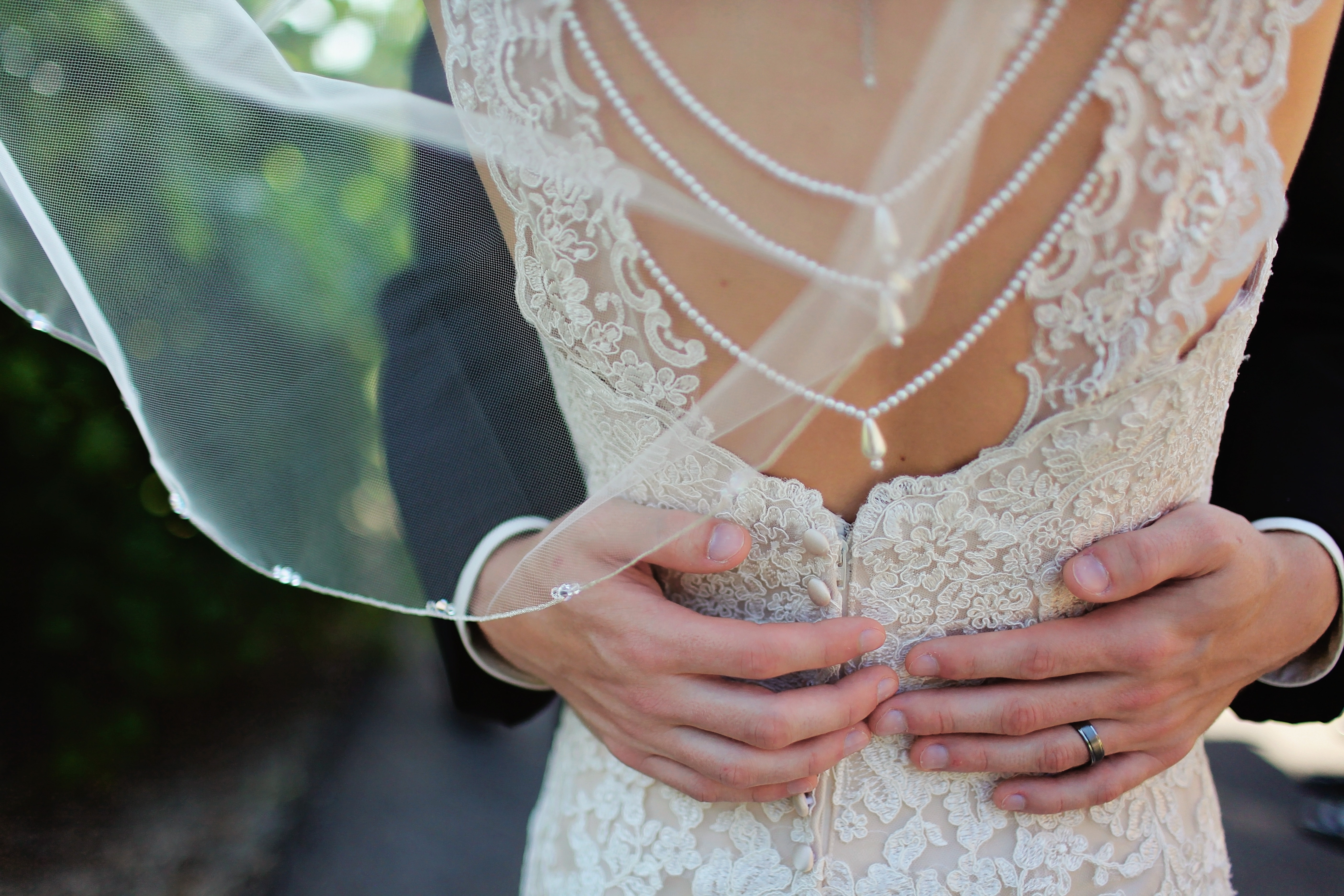 Woman wearing beige bridal gown during day time photo