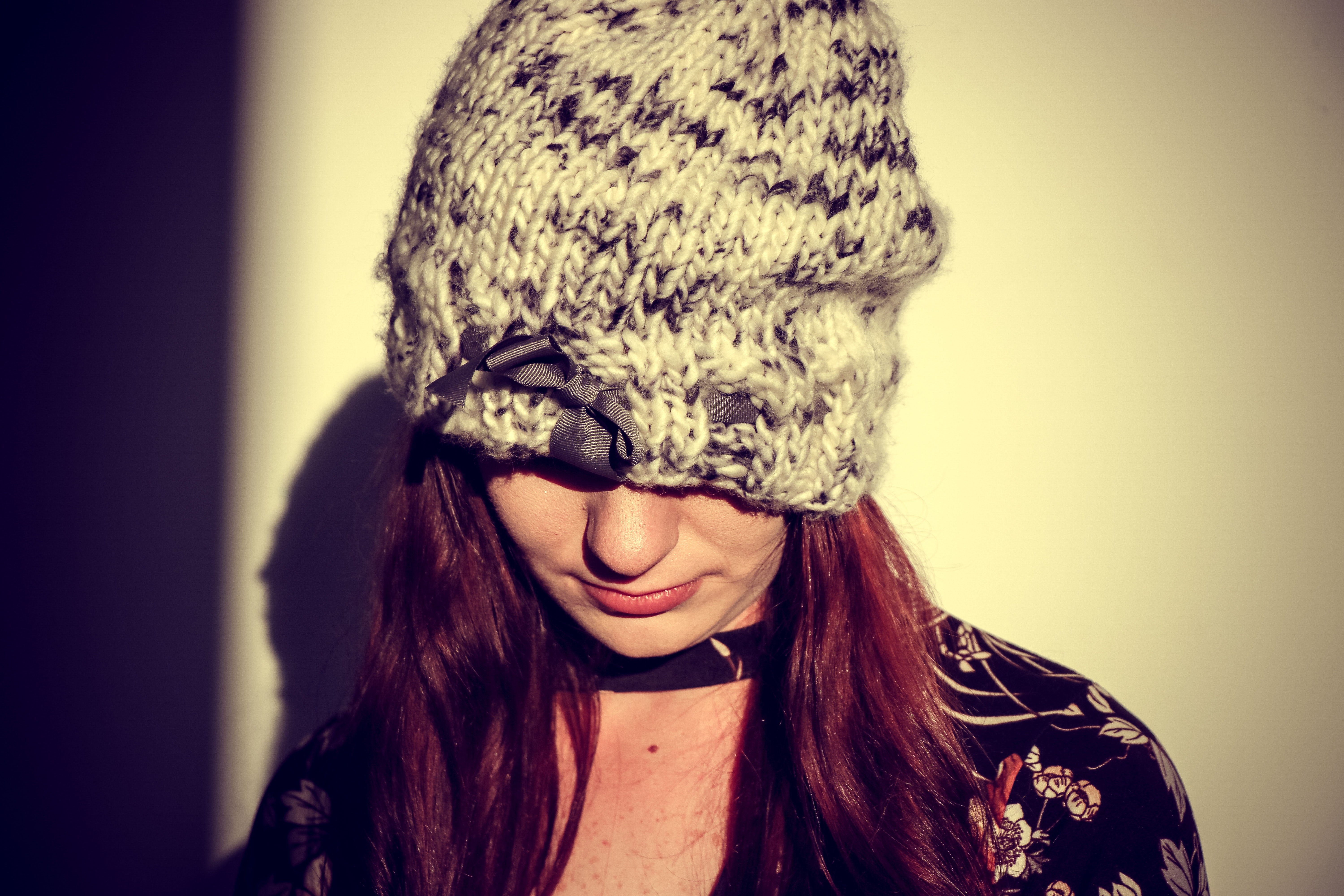 Woman Wearing Black and Gray Knit Cap in the White Wall Paint Room, Adult, Model, Woman, Wear, HQ Photo