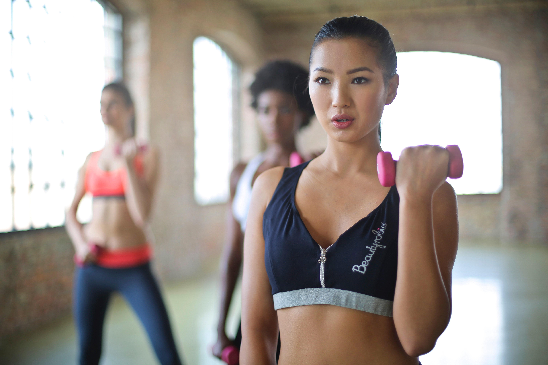 Woman wearing black and gray sport bra photo