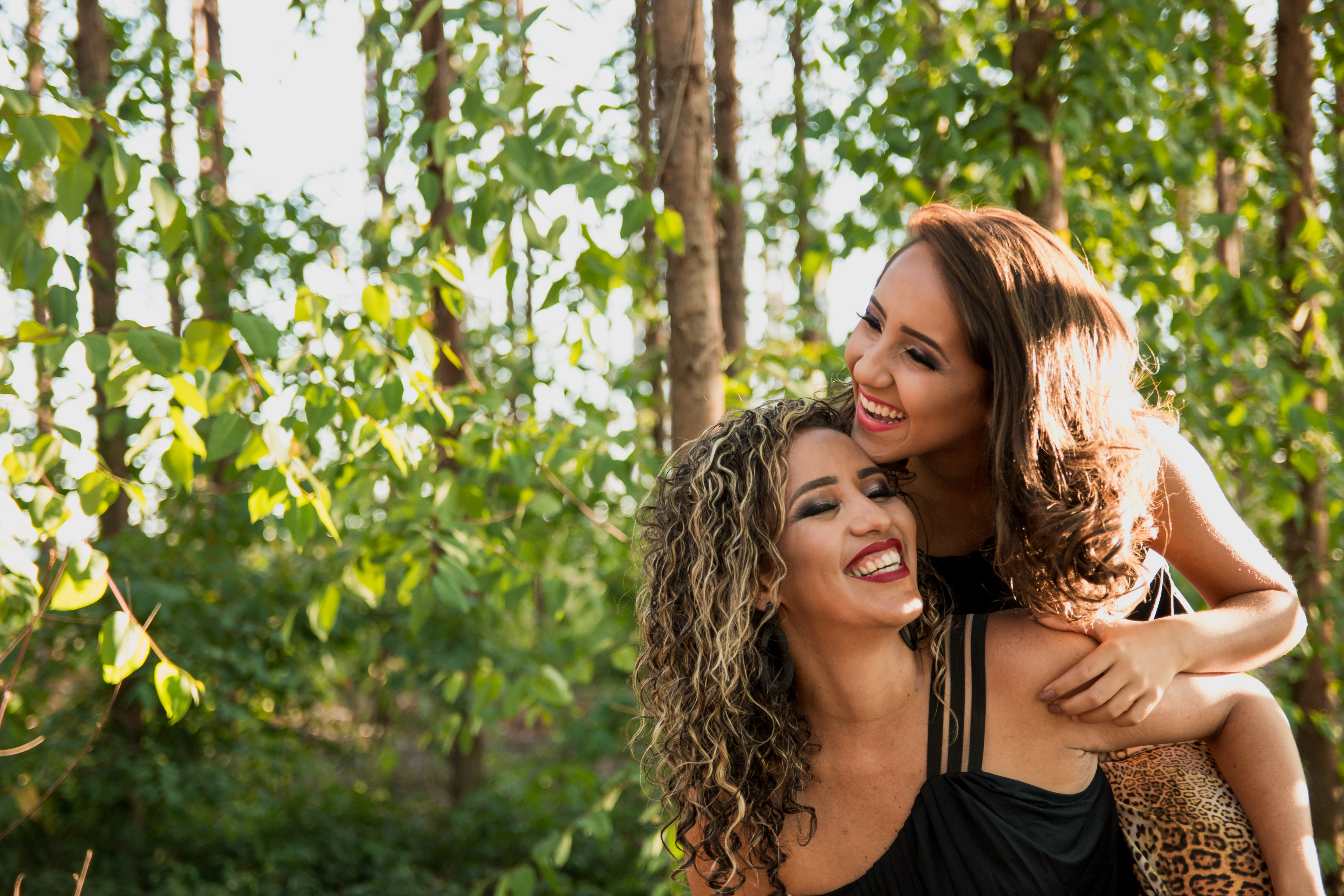 Woman Wearing Black Camisole Beside Woman in Black Dress, Carefree, Nature, Wear, Togetherness, HQ Photo
