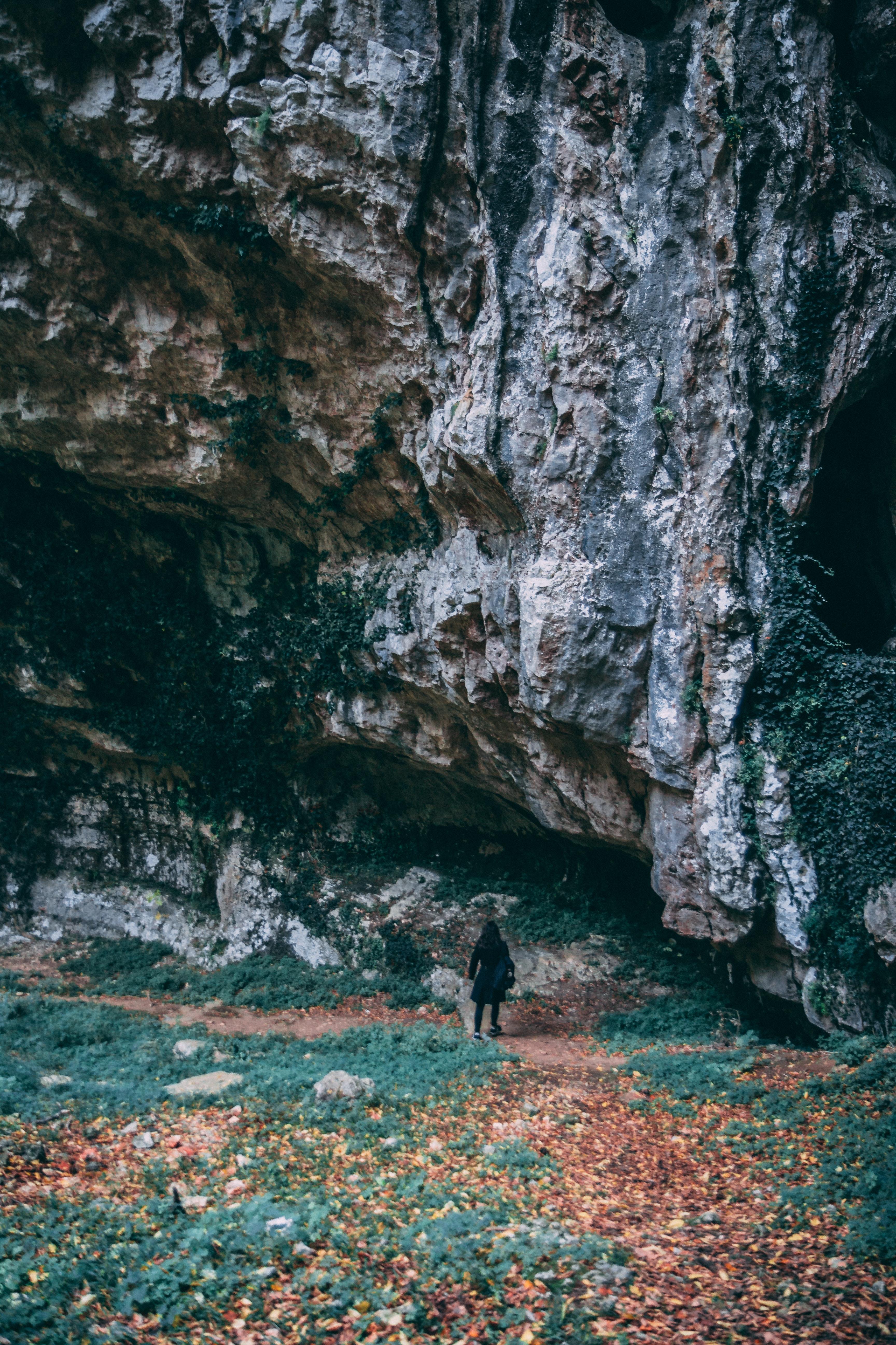Woman wearing black coat standing near gray mountain photo