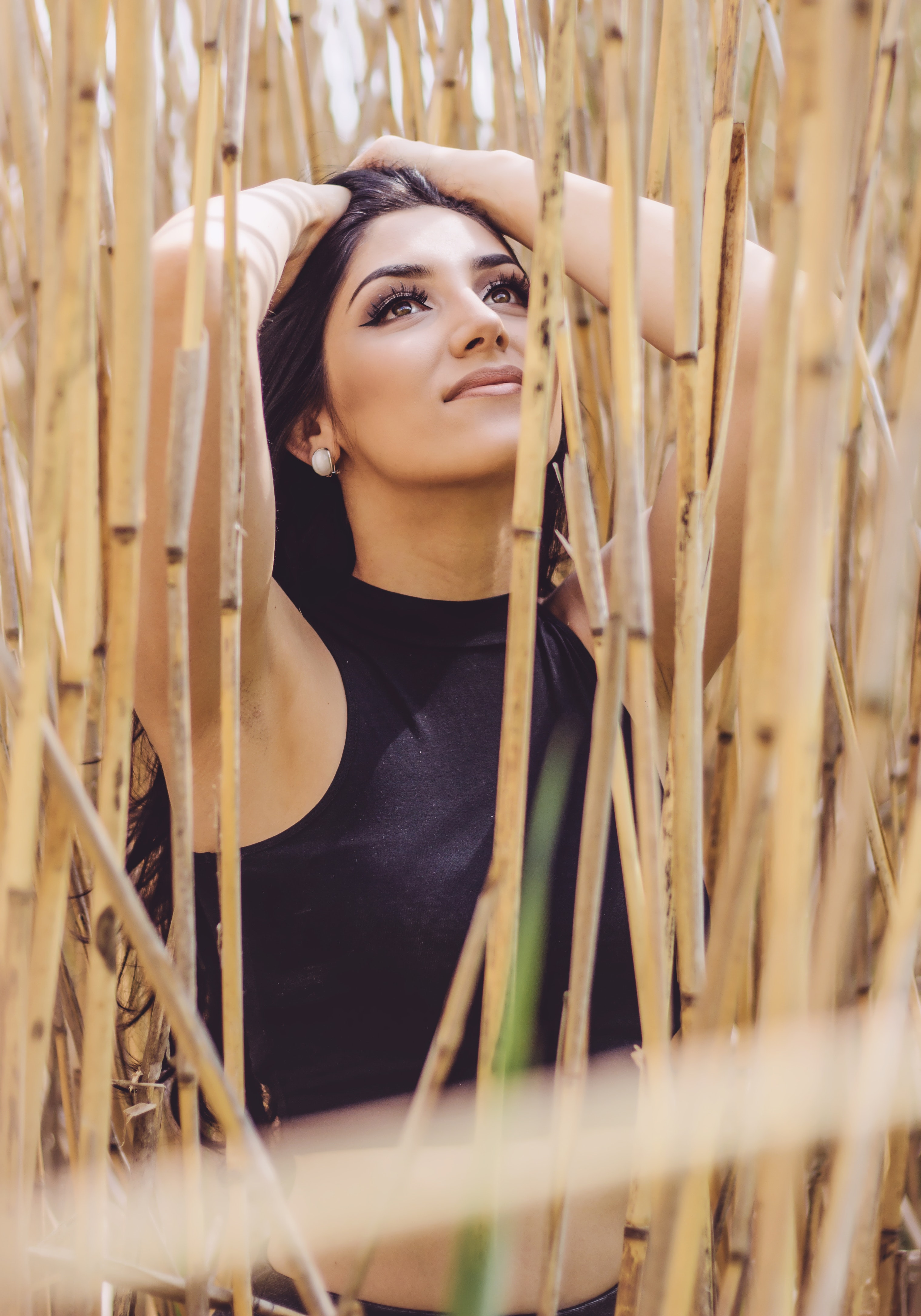 Woman Wearing Black Crop Top, Bamboo, Beautiful, Daytime, Eyes, HQ Photo