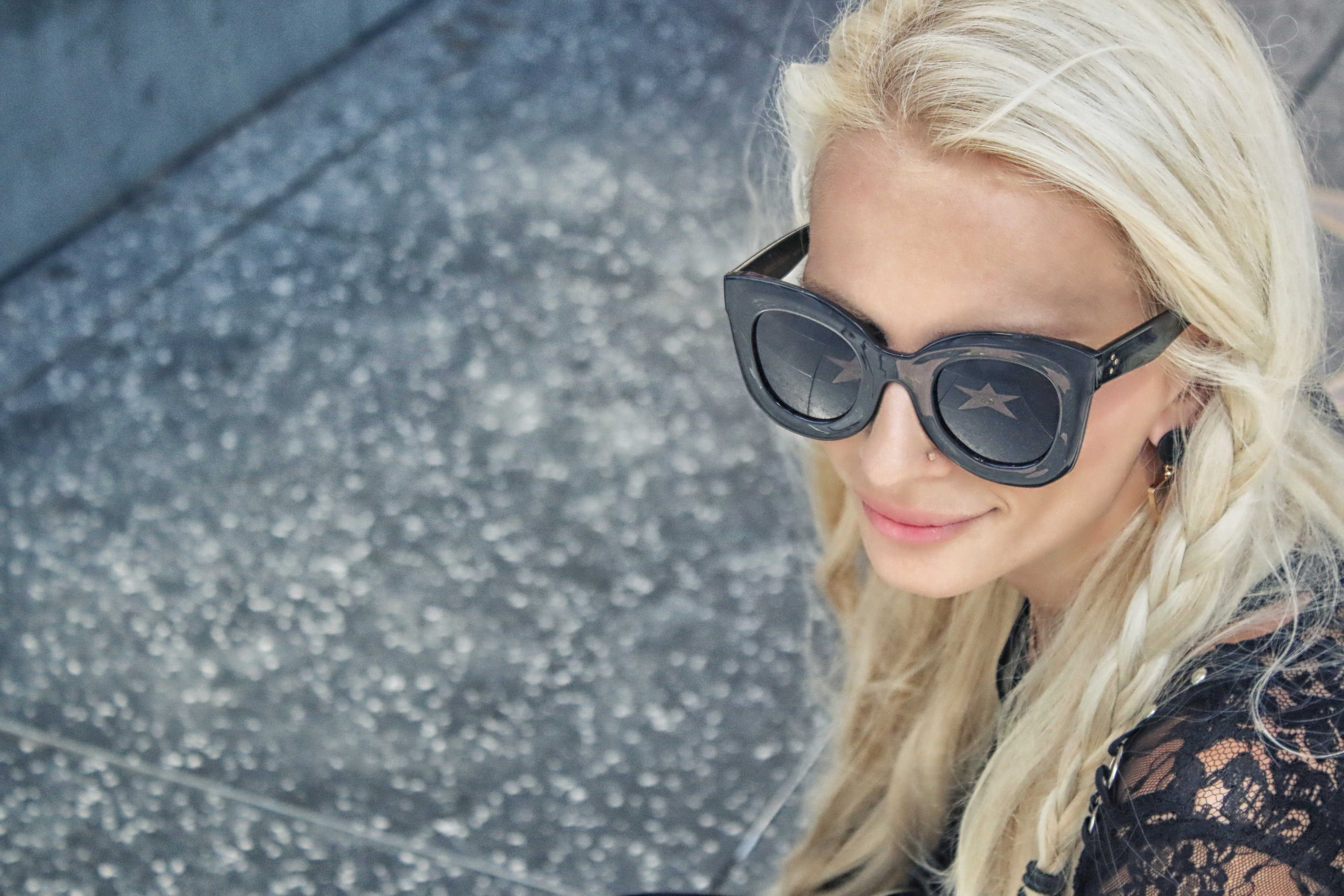 Woman Wearing Black Framed Wayfarer Style Sunglasses and Black Floral Top Near Gray Concrete Pavement, Photoshoot, Young, Woman, Sunglasses, HQ Photo