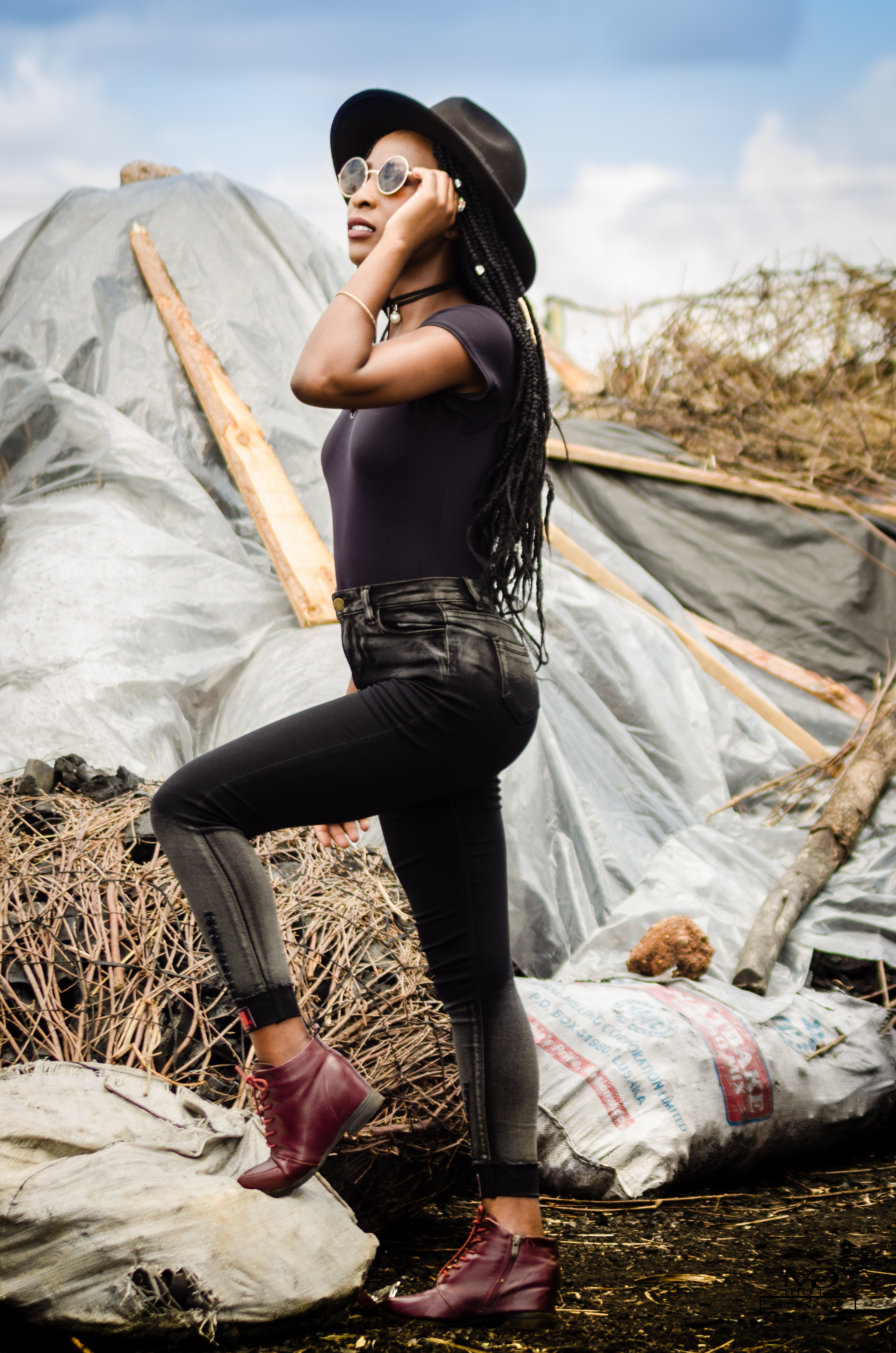 Woman wearing black jeans photo