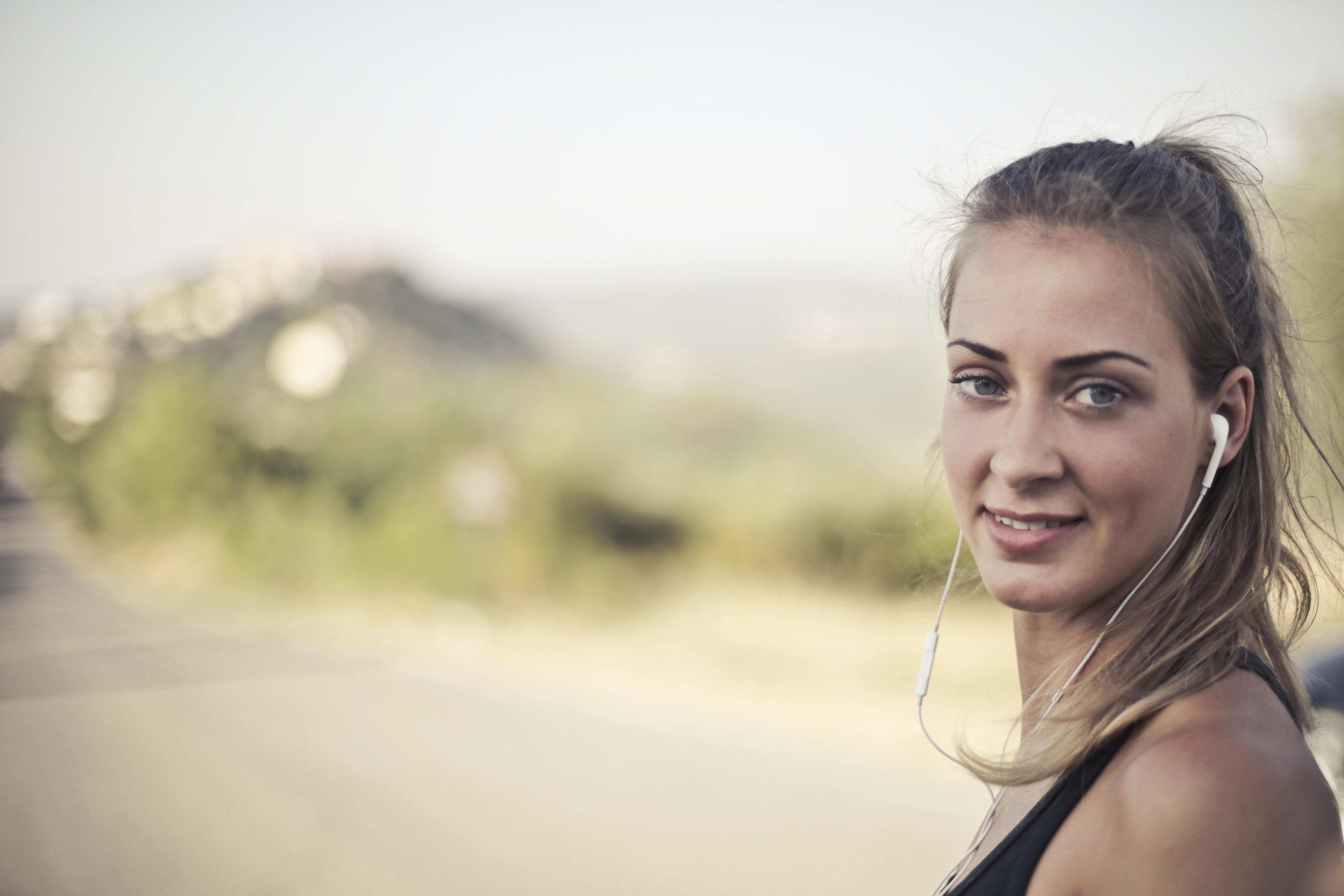 Woman Wearing Black Tank Top And White Earbuds, Active, Beautiful, Blond, Earphone, HQ Photo