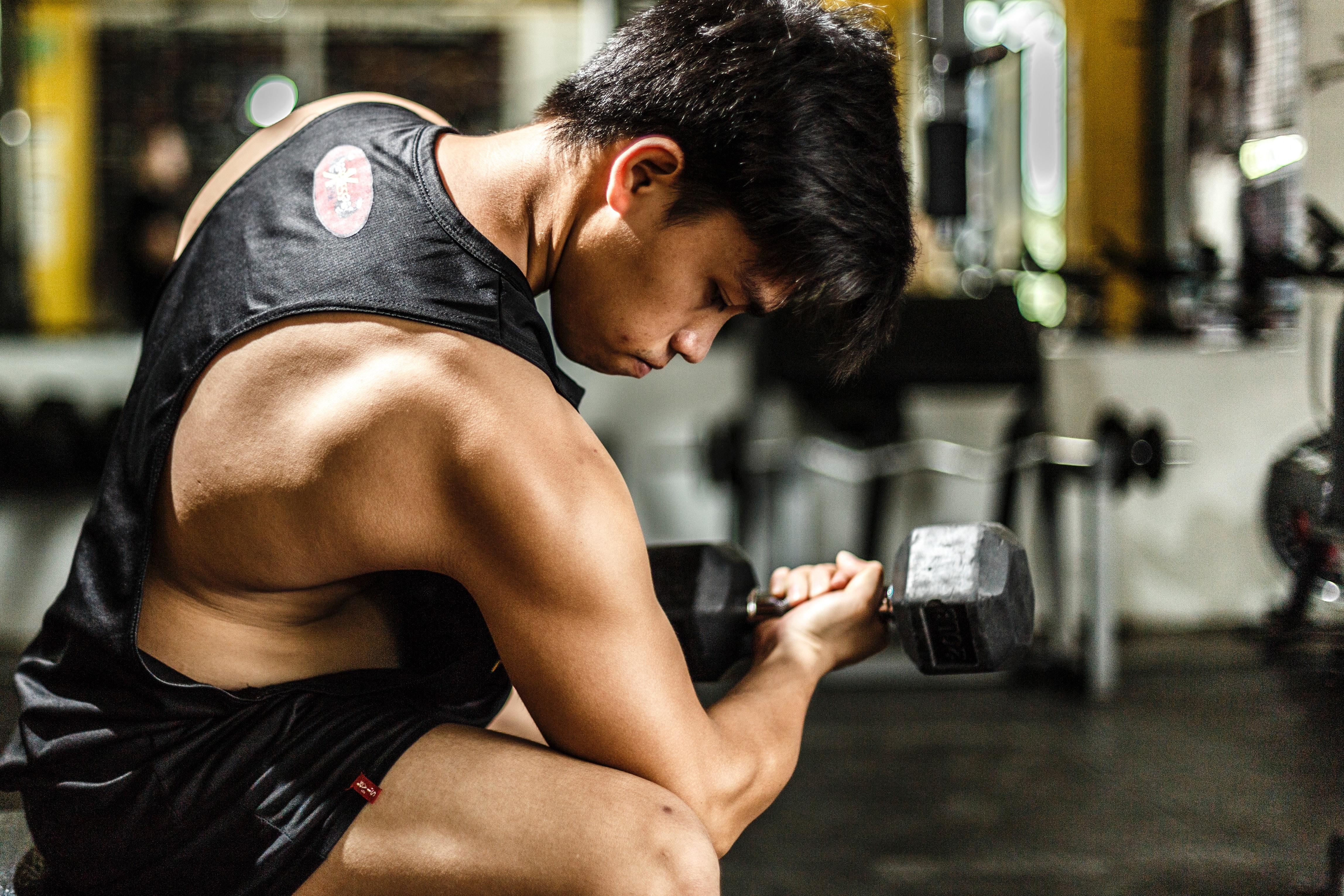 Woman Wearing Black Tank Top Taking Work Out, Athlete, Man, Weights, Wear, HQ Photo