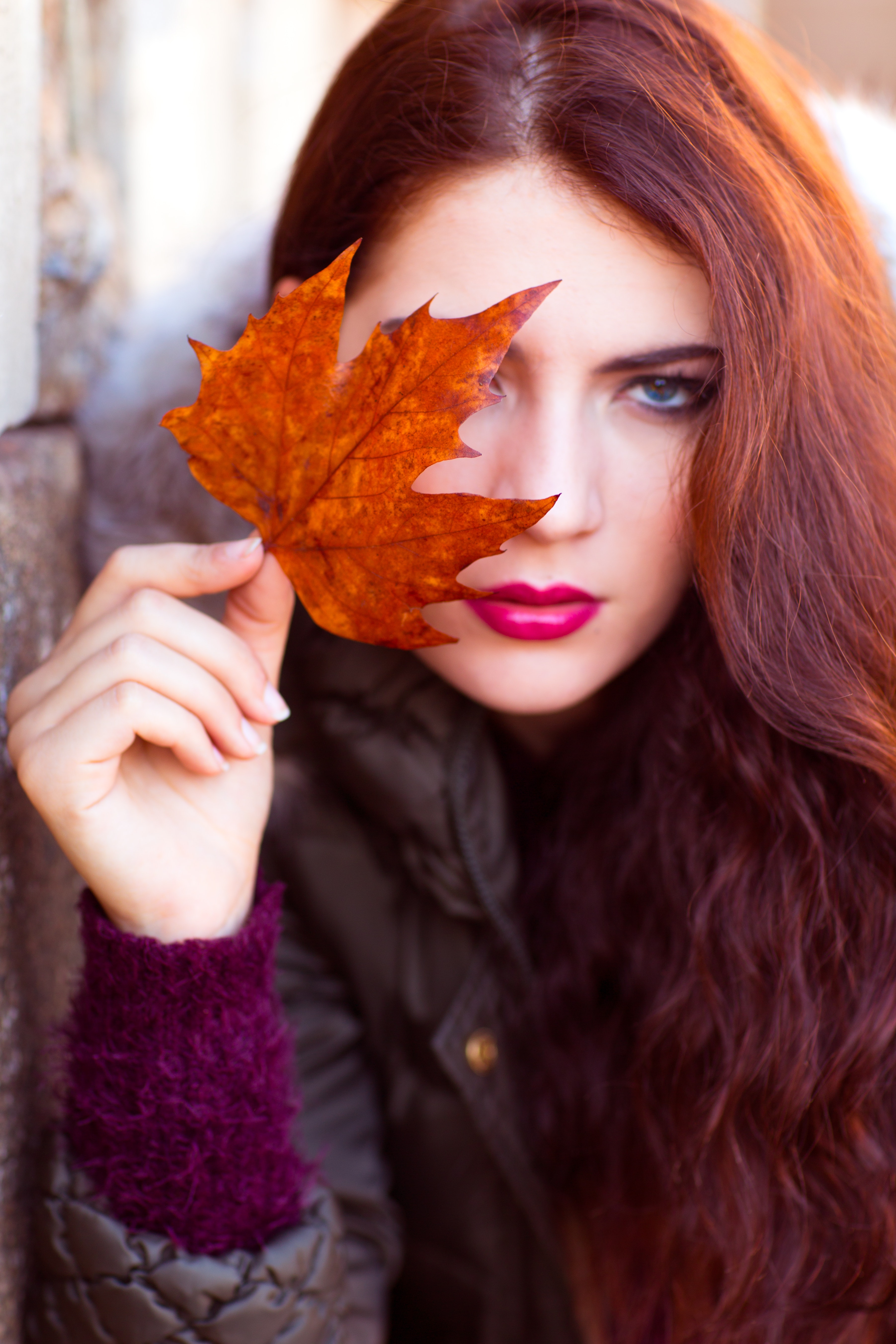 Woman wearing black zip-up jacket holding brown maple leaf photo