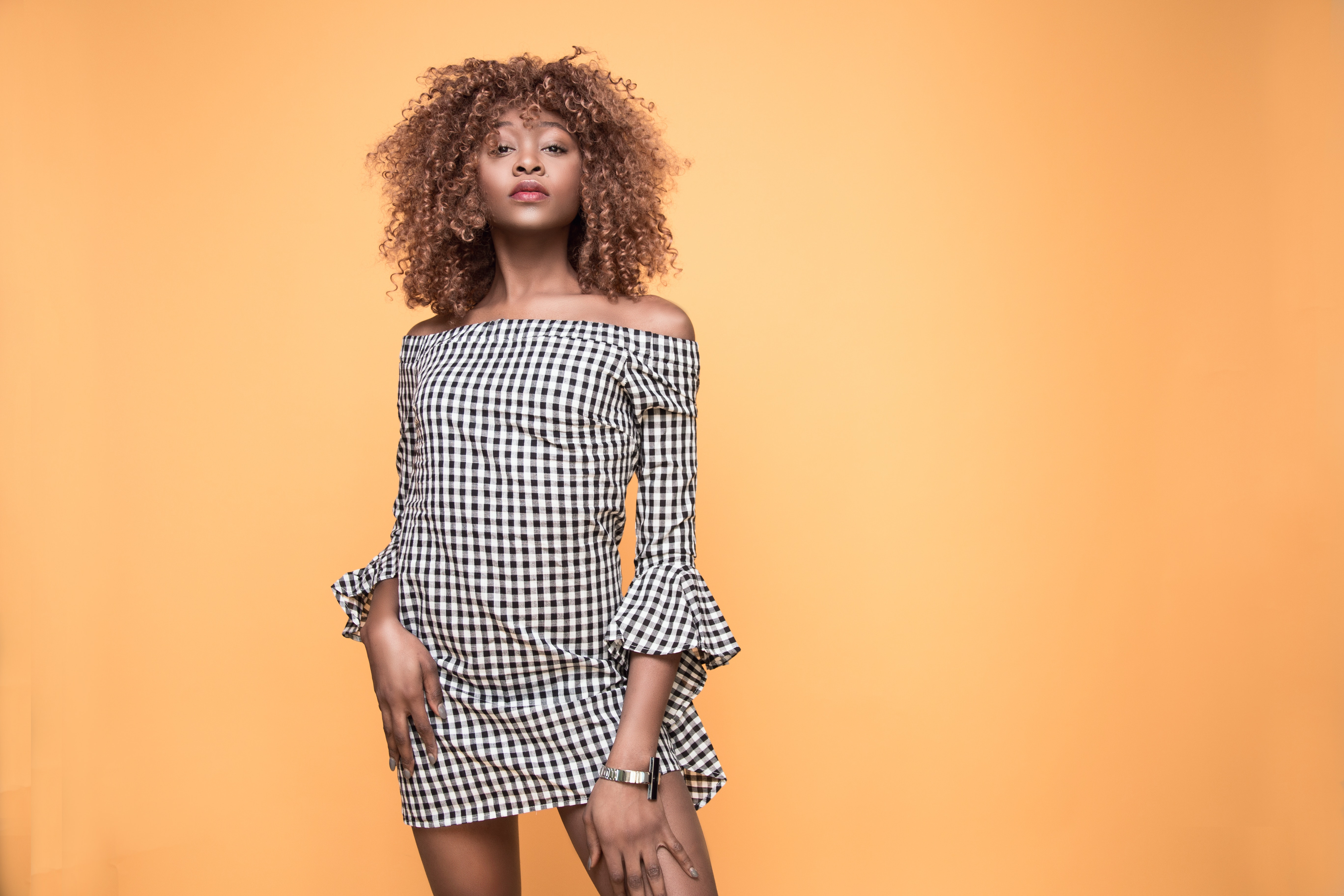 Woman Wearing Checked Bell-sleeved Dress With Orange Background, Casual, Curly hair, Dress, Fashion, HQ Photo