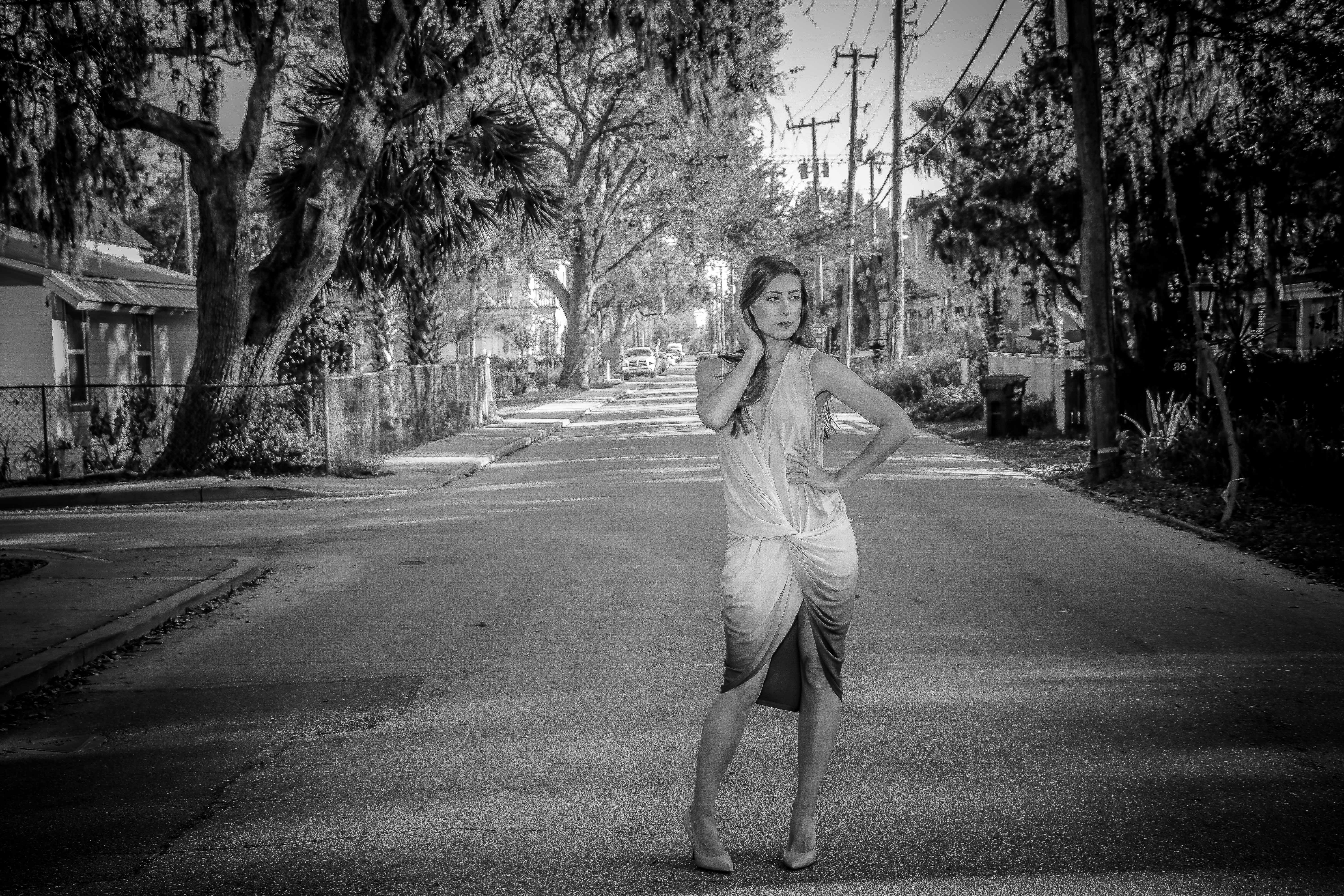 Woman Wearing Dress Standing on Center of Road, Black and white, Pose, Woman, Urban, HQ Photo
