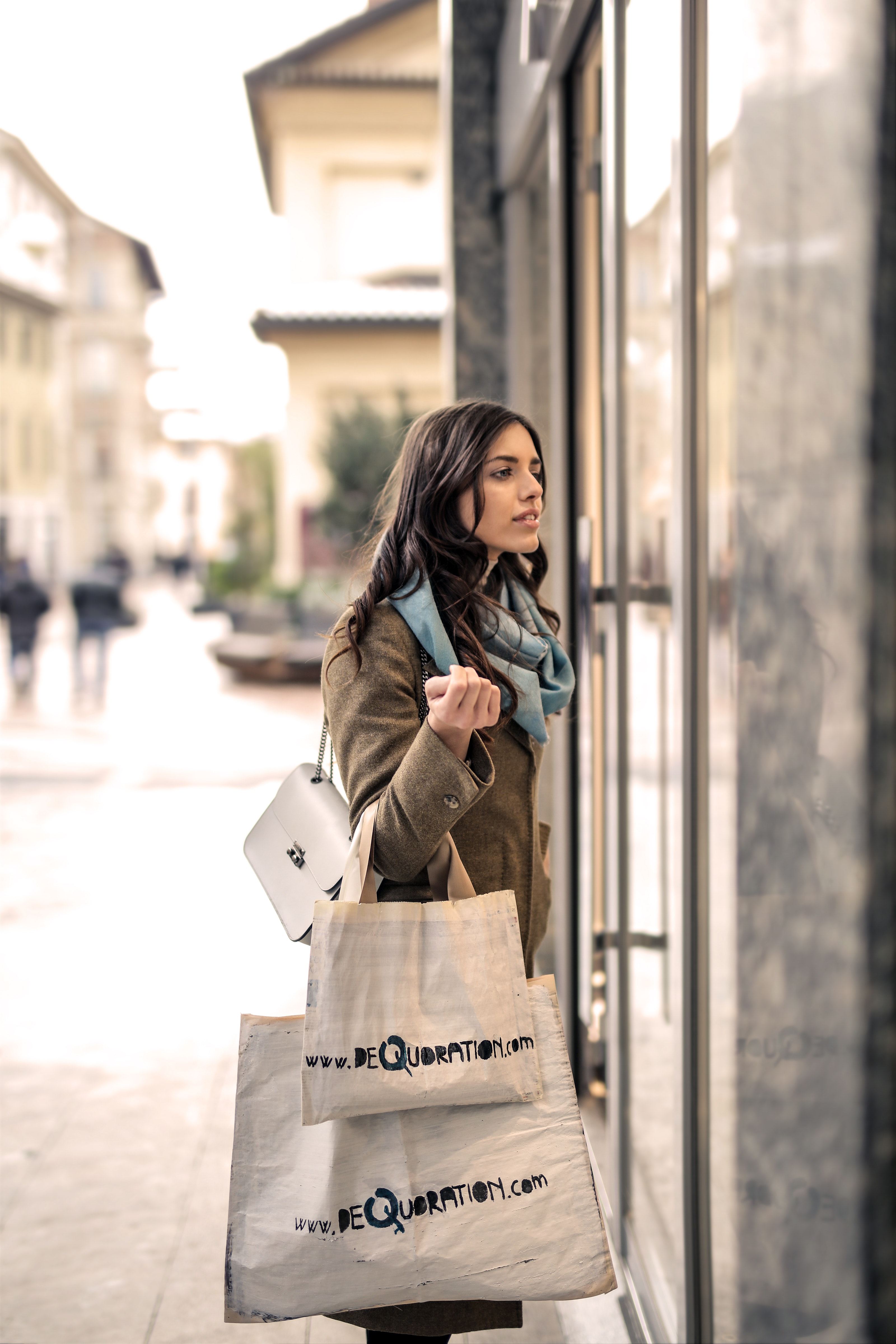Woman Wearing Gray Coat, Bag, Retail, Woman, Window, HQ Photo