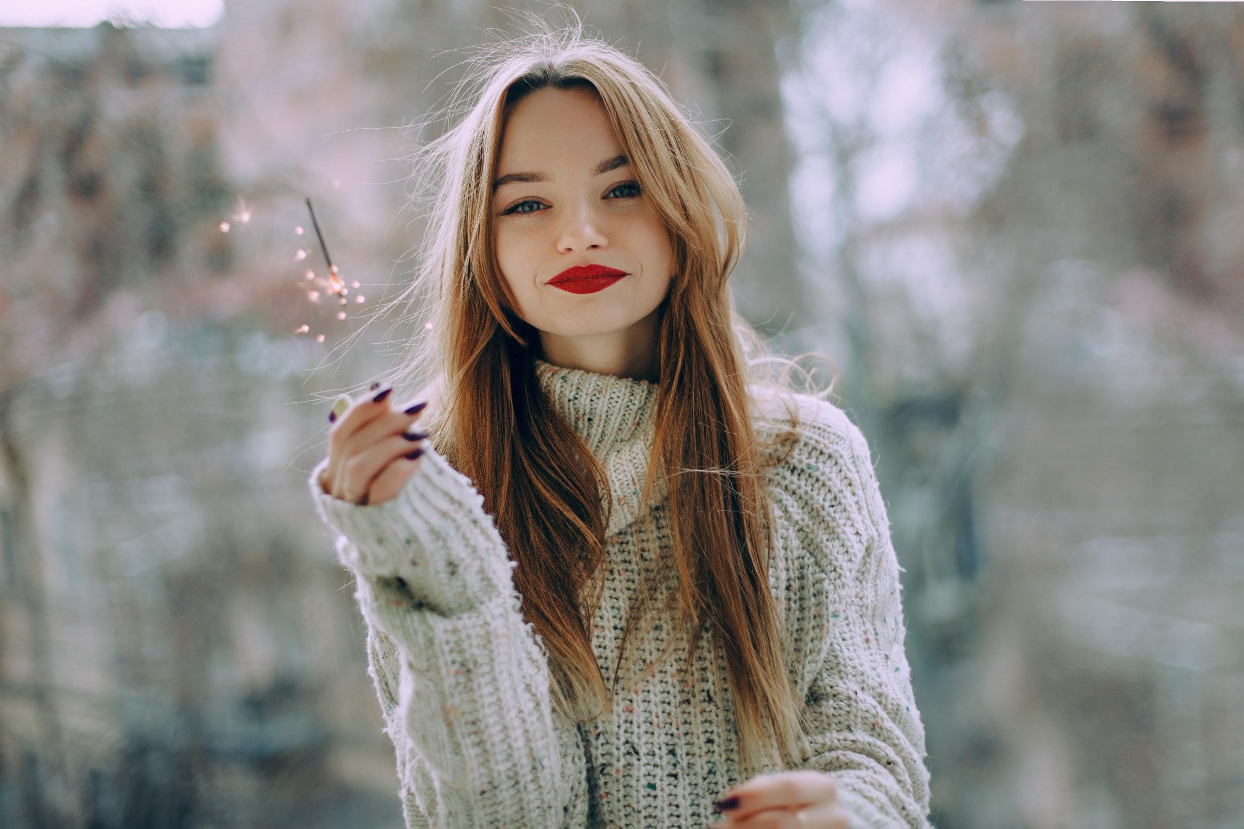 Woman Wearing Gray Mock Neck Sweater, Beautiful, Daylight, Face, Fashion, HQ Photo