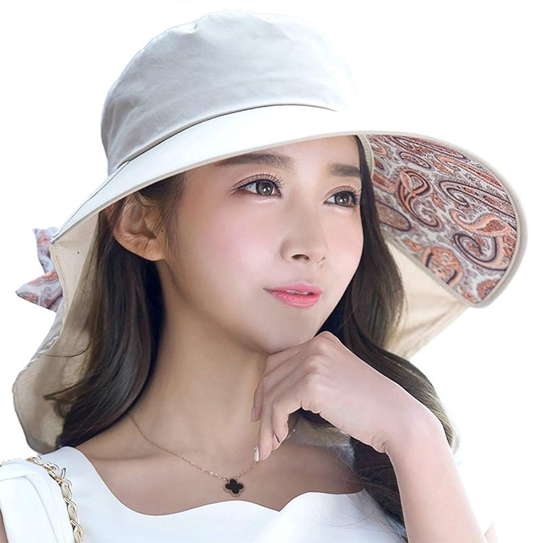 SIGGI Womens Wide Brim Summer Sun Flap Cap Hat Neck Cover Cord ...