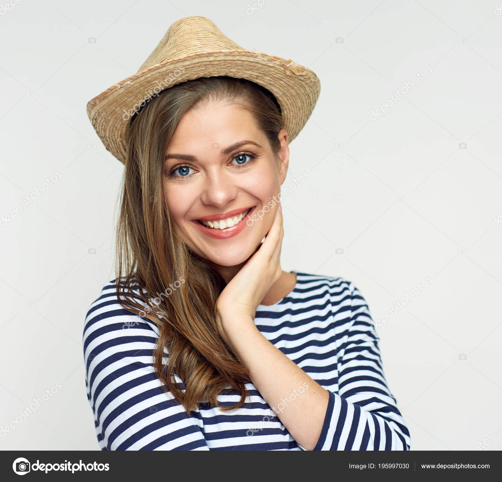 Portrait Smiling Woman Wearing Hat Striped Shirt Looking Camera ...