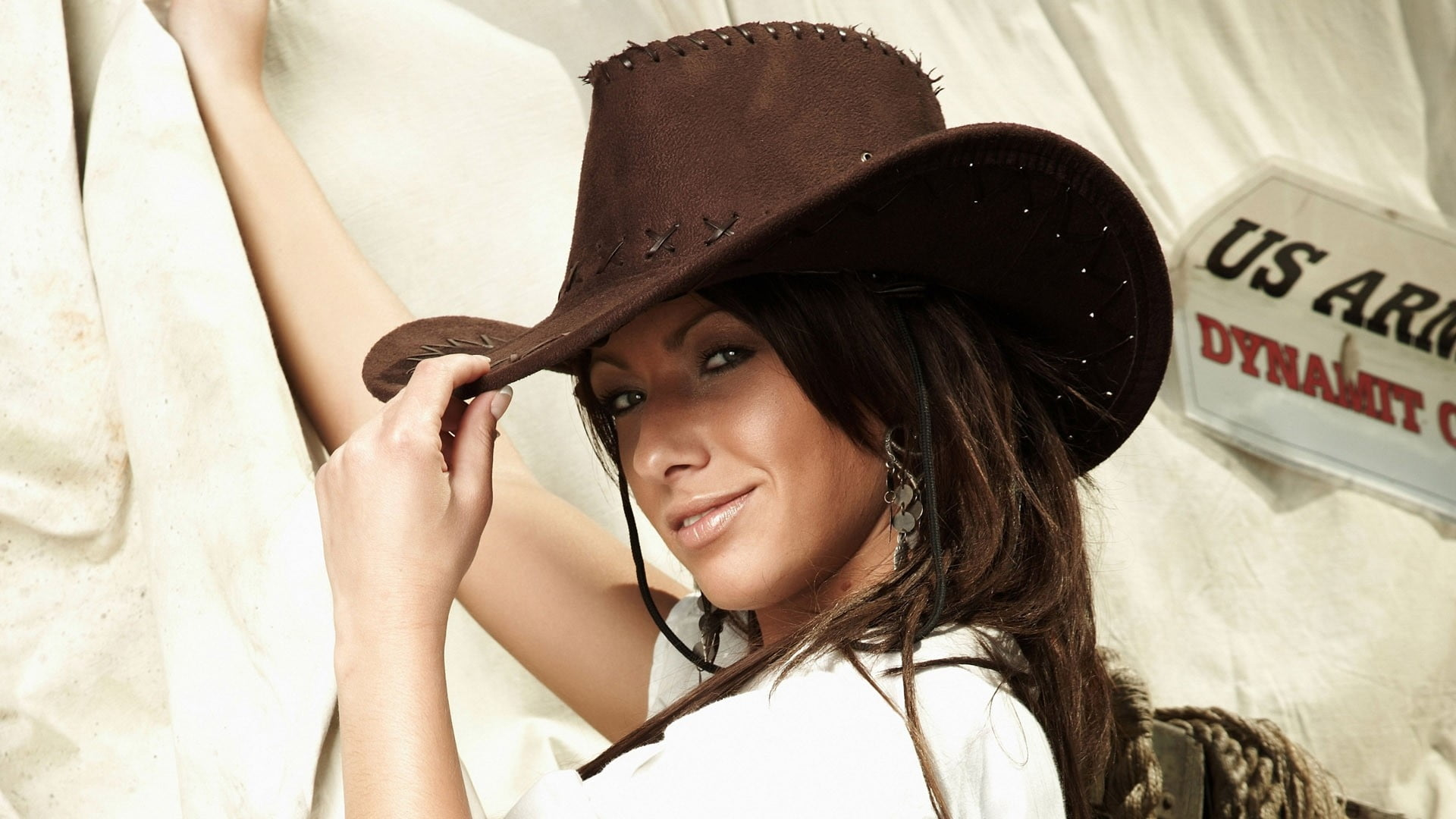 Woman wearing a brown cowboy hat HD wallpaper | Wallpaper Flare