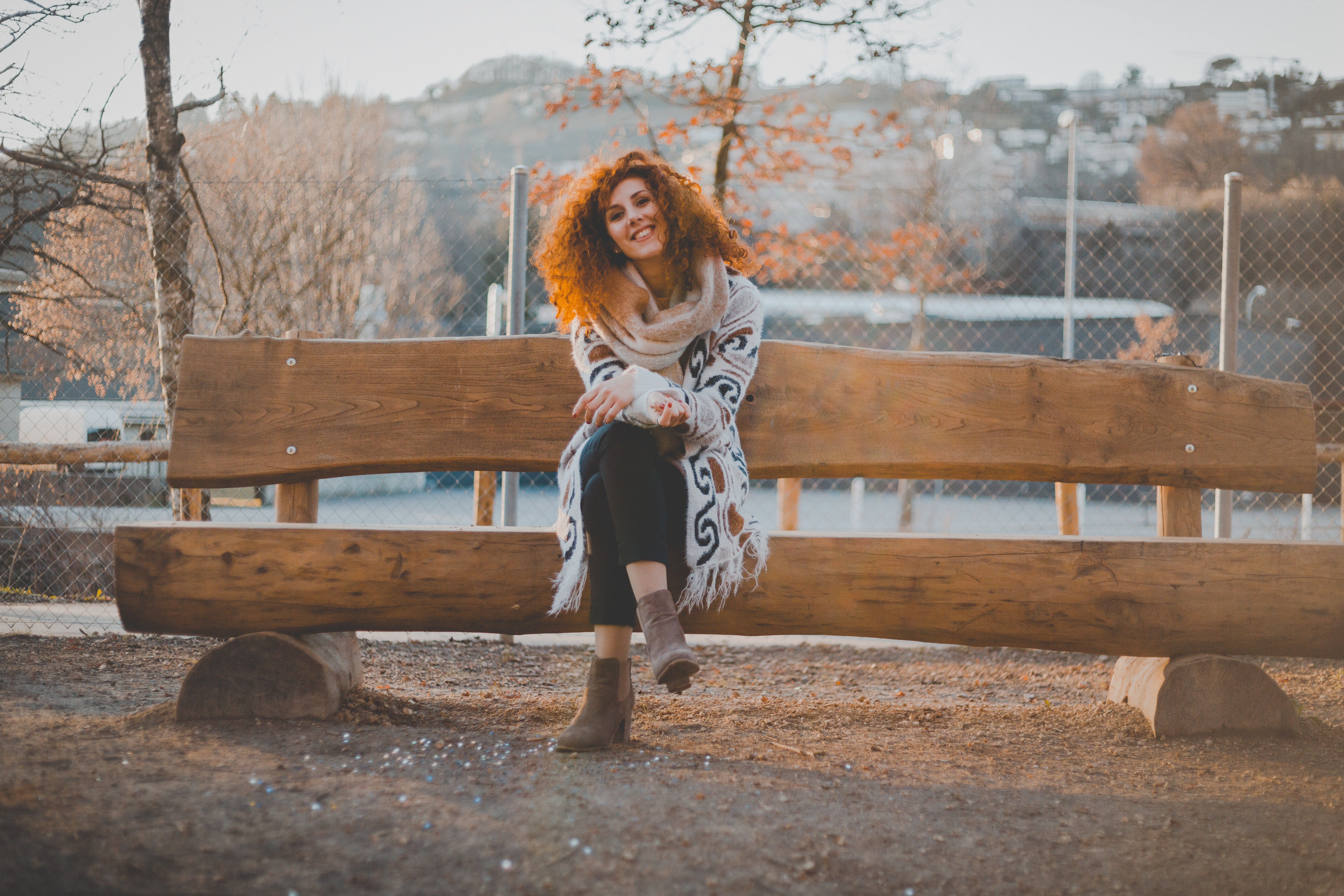 Woman Wearing Knitted Sweater, Adult, Seat, Woman, Winter, HQ Photo