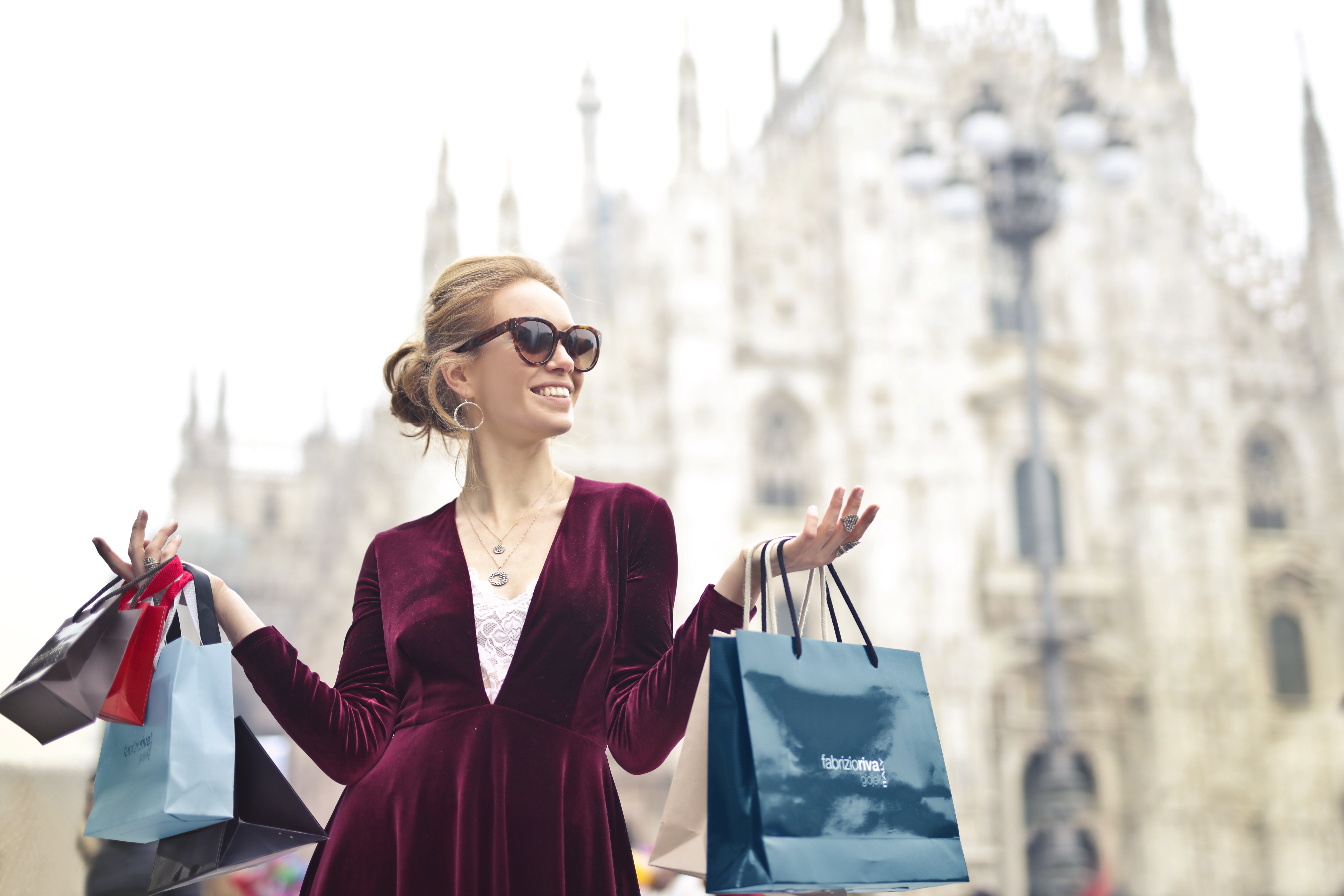 Woman Wearing Maroon Velvet Plunge-neck Long-sleeved Dress While Carrying Several Paper Bags Photography, Pretty, Purchase, Rich, Person, HQ Photo