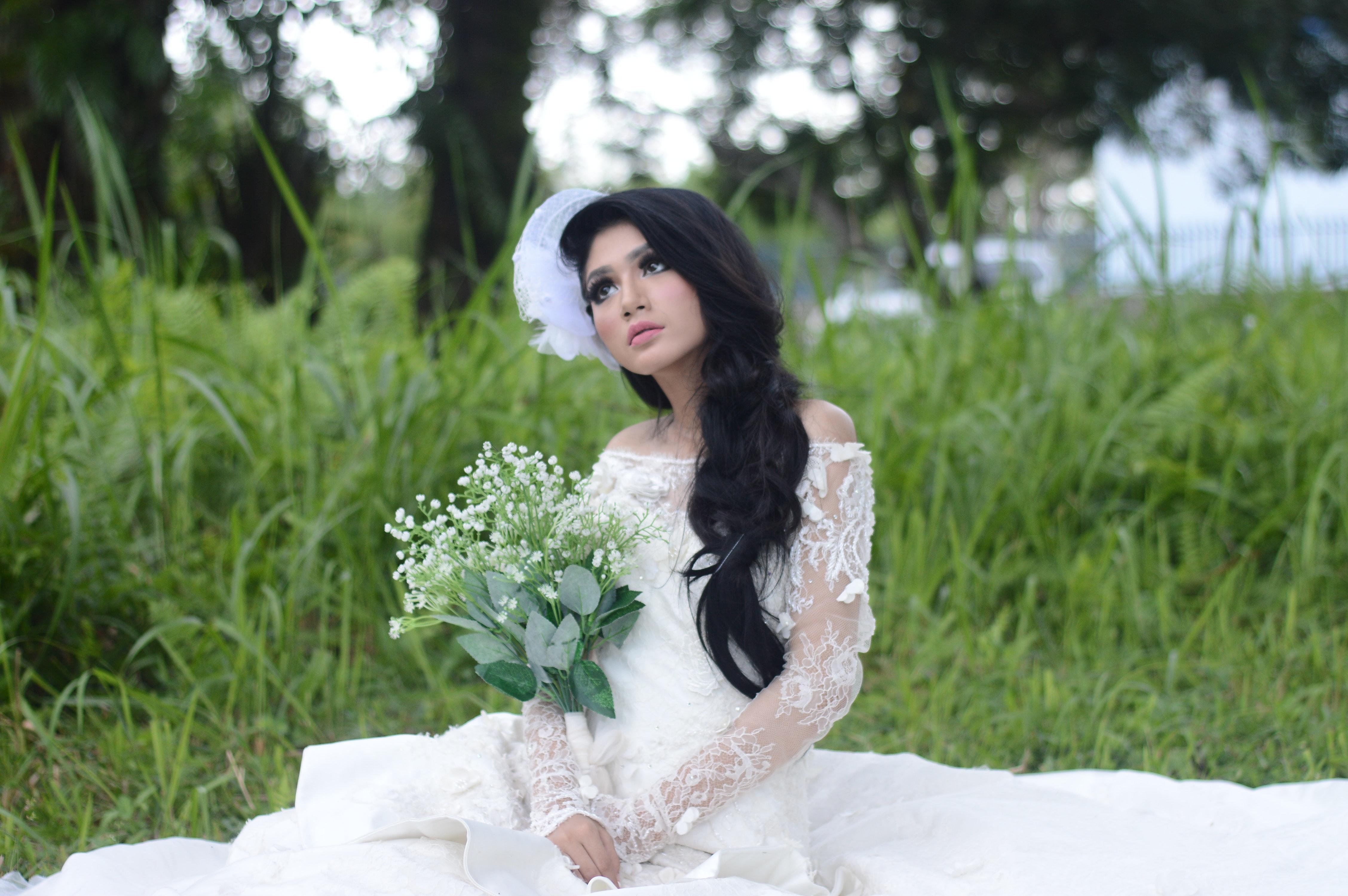 Free photo: Woman Wearing of White Off-shoulder Bridal Dress - model ...