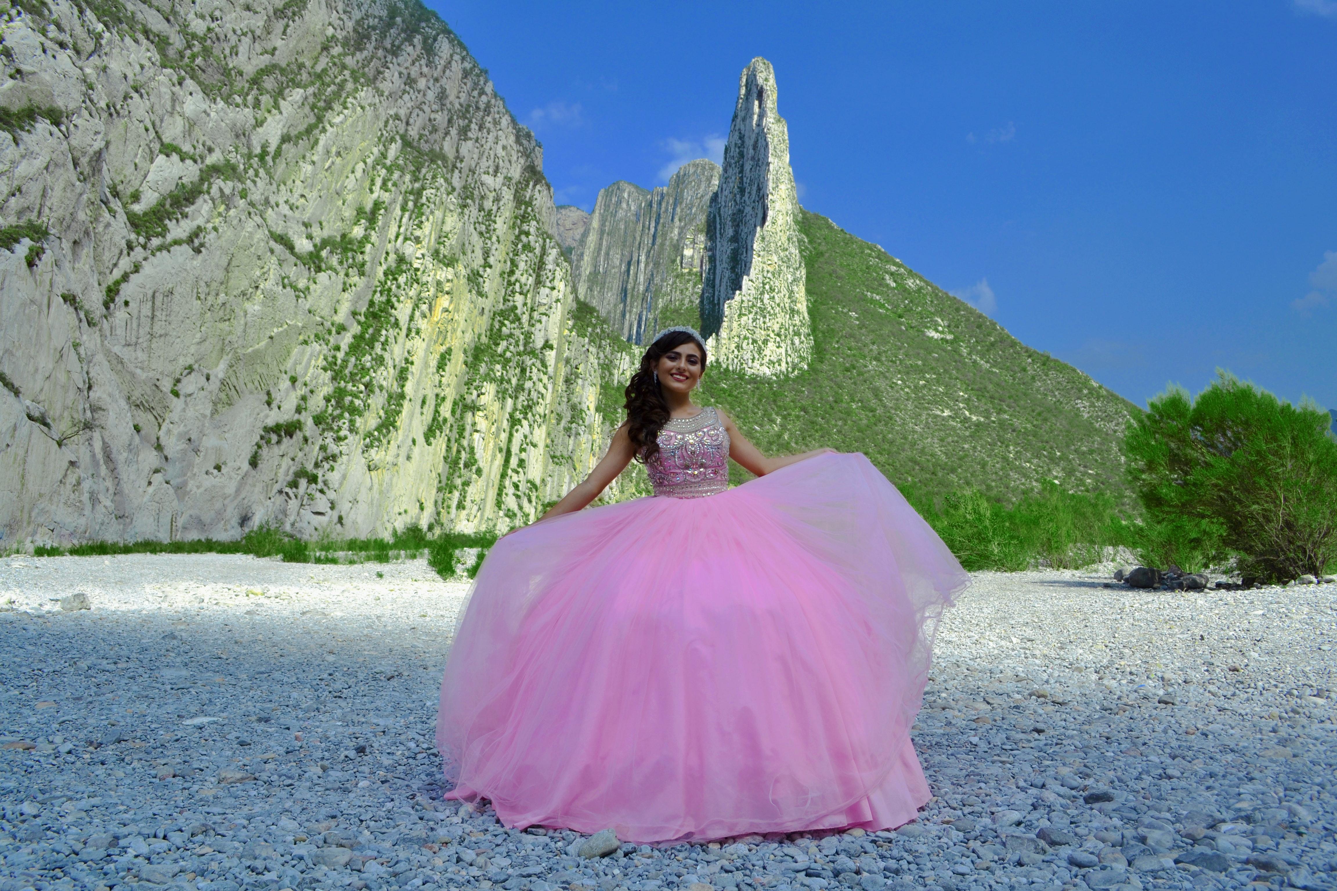 Woman Wearing Pink Gown, Adult, Photoshoot, Wedding dress, Vegetation, HQ Photo