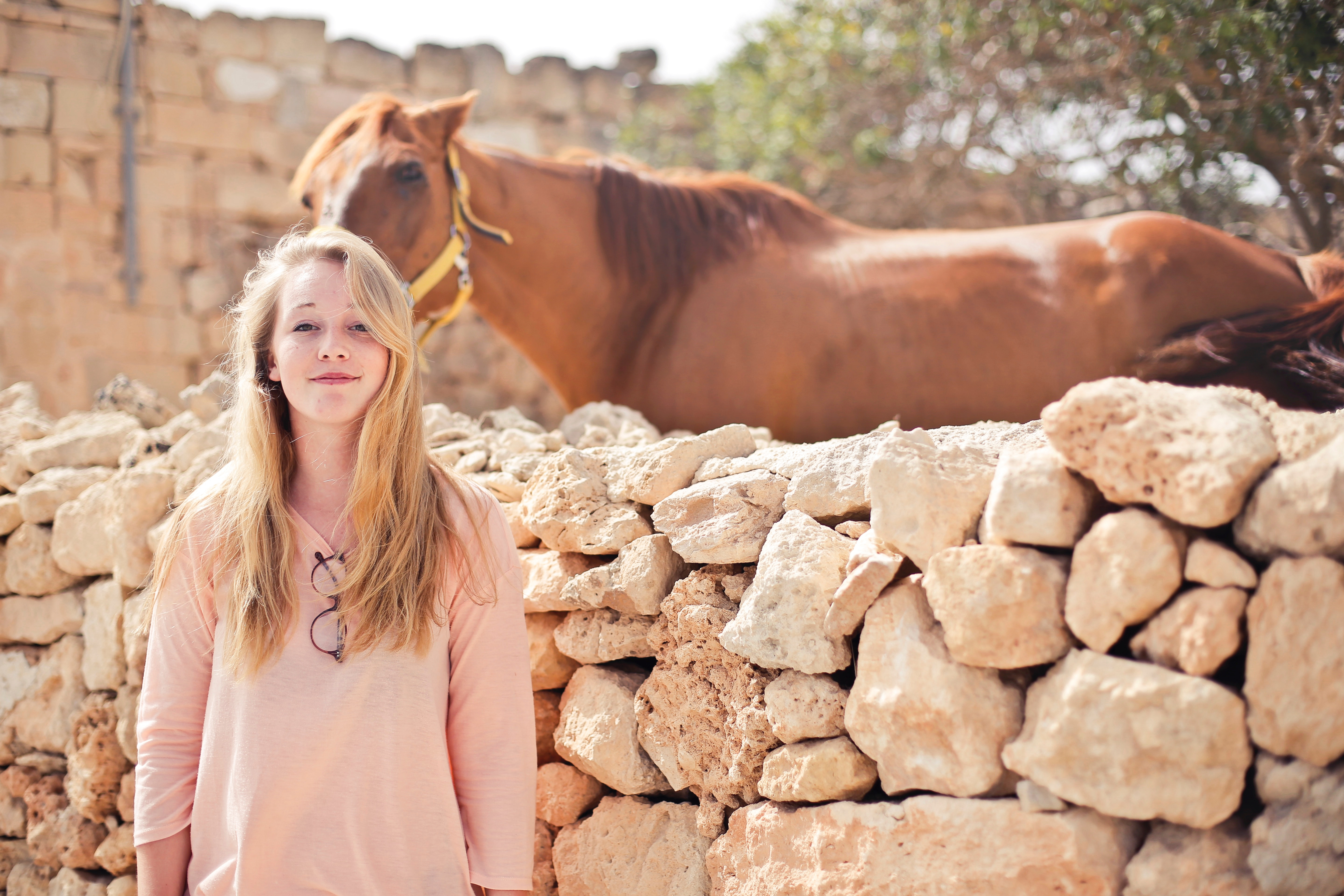 Woman wearing pink v-neck 3/4 sleeved shirt with eyeglasses standing in front of brown horse photo