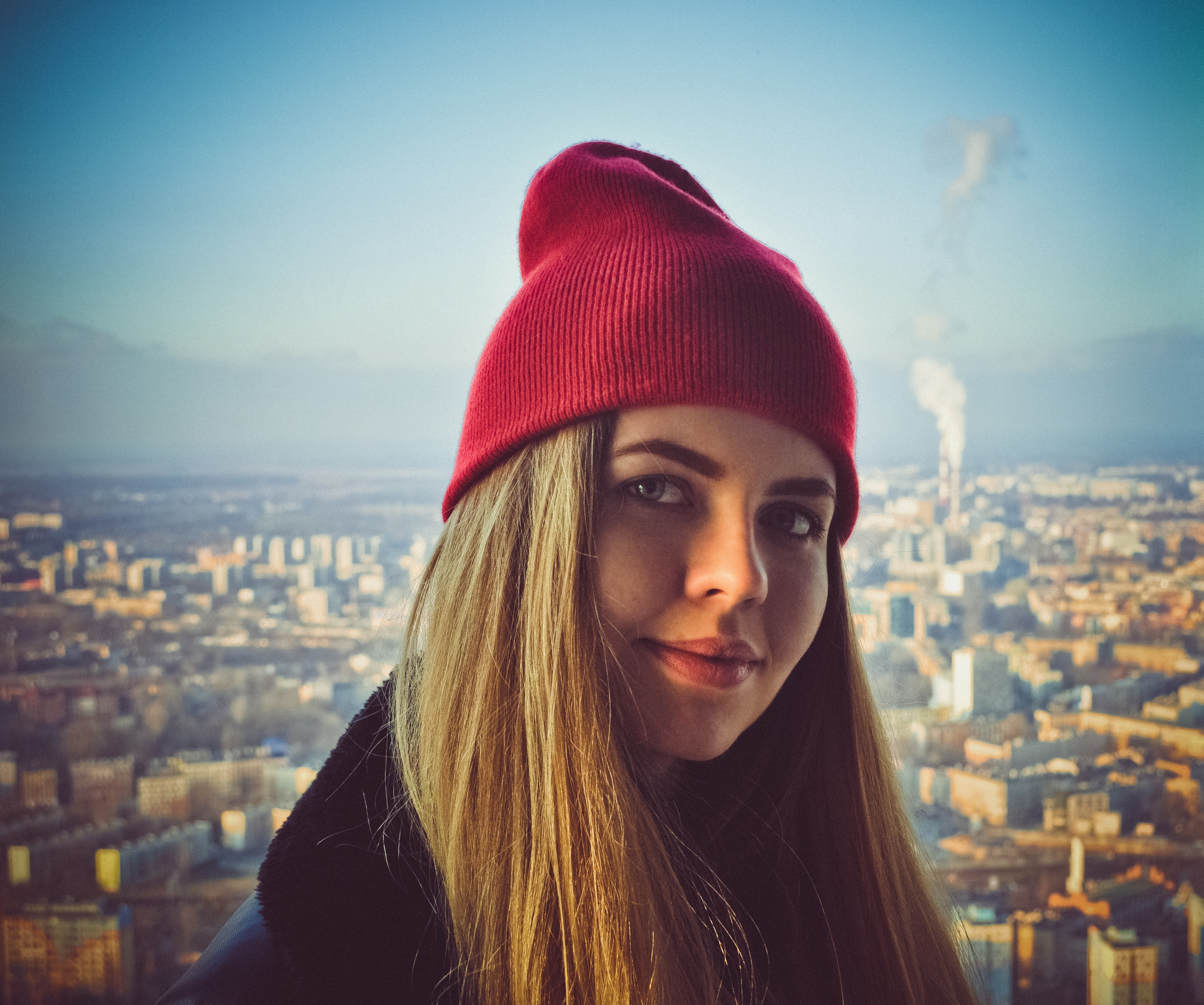 Woman wearing red beanie photo