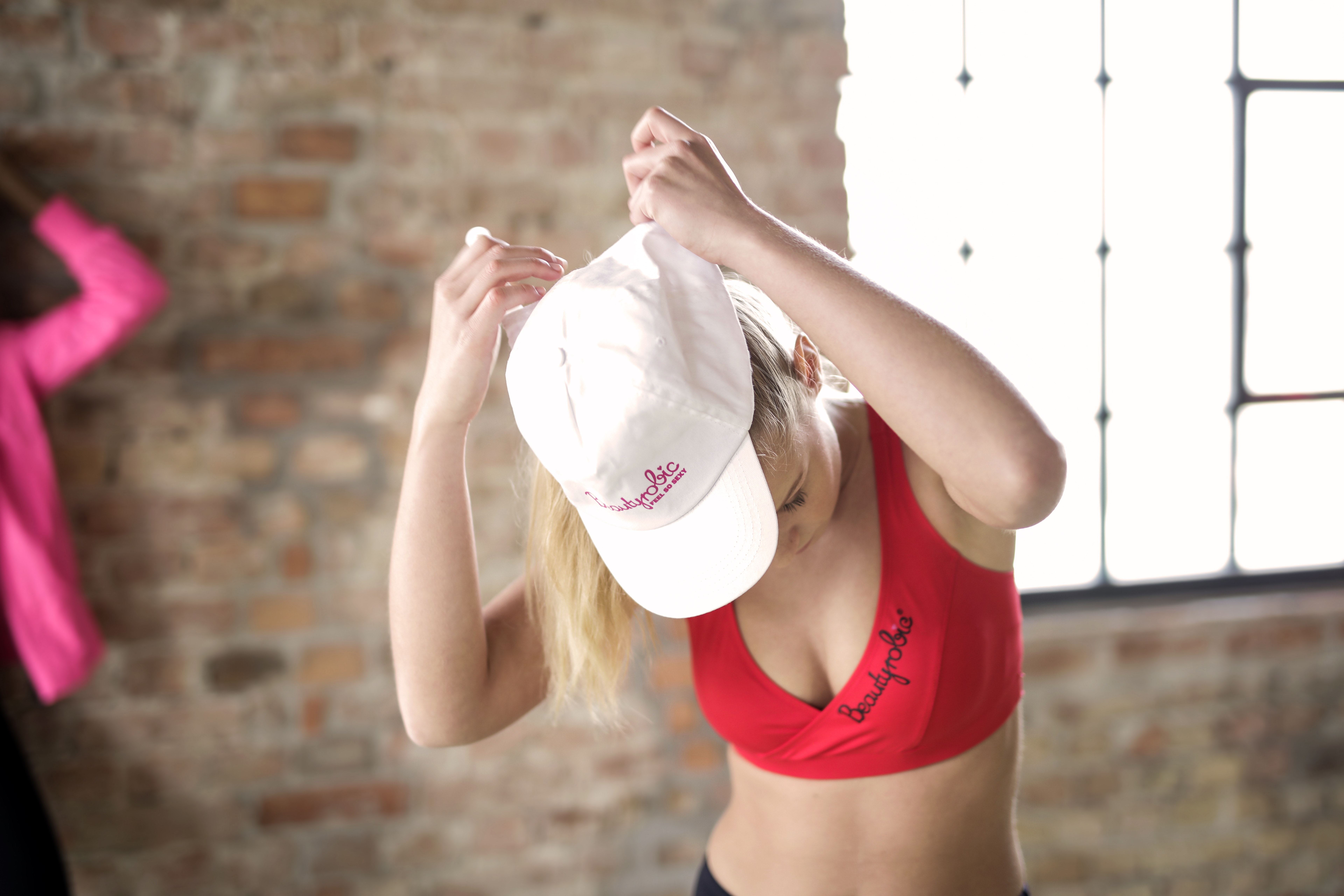 Woman Wearing Red Crop Top and White Cap, Active, Workout, Women, Woman, HQ Photo