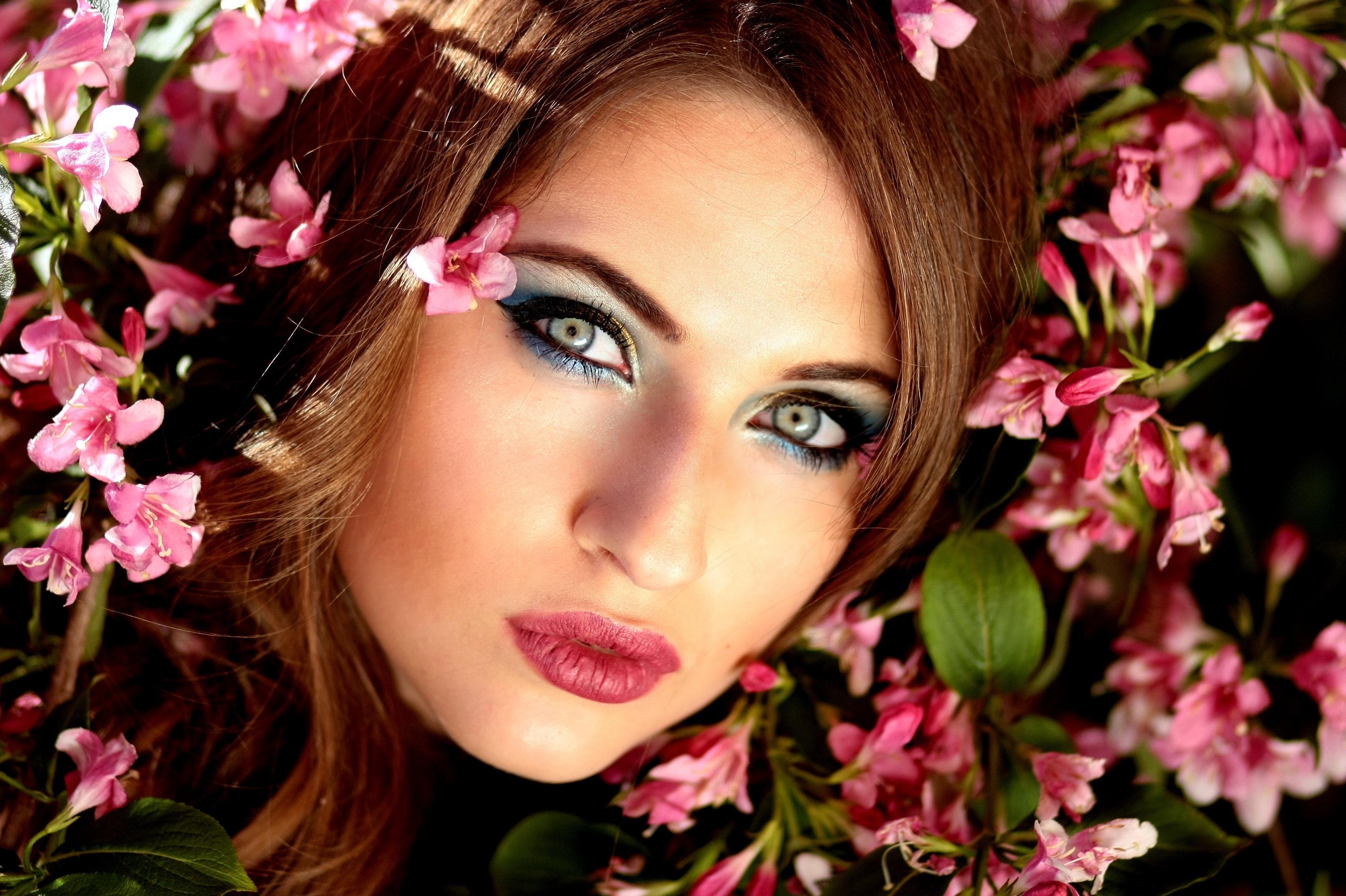 Woman wearing red lipstick photo