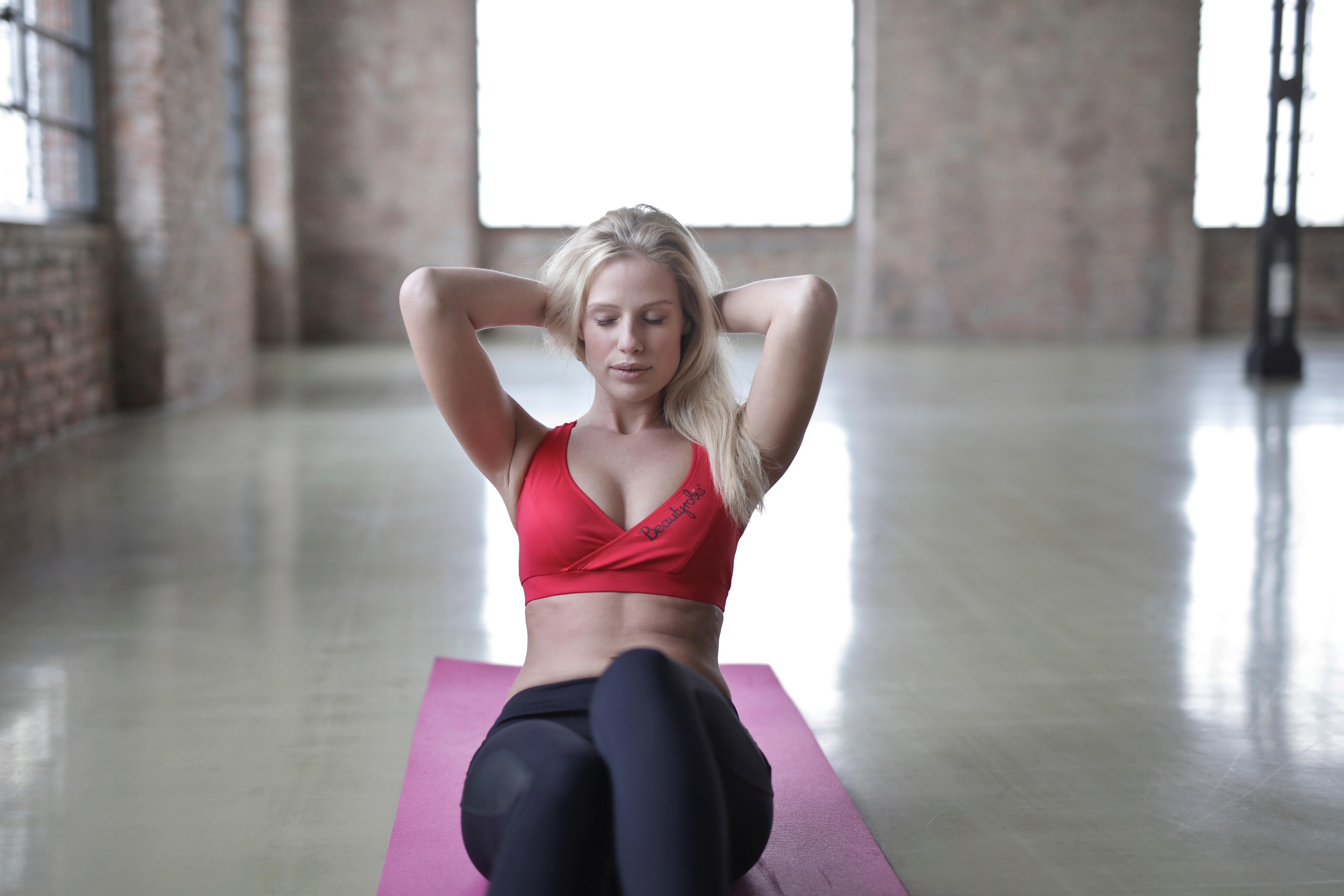 Woman Wearing Red Sports Bra, Indoors, Yoga, Workout, Woman, HQ Photo