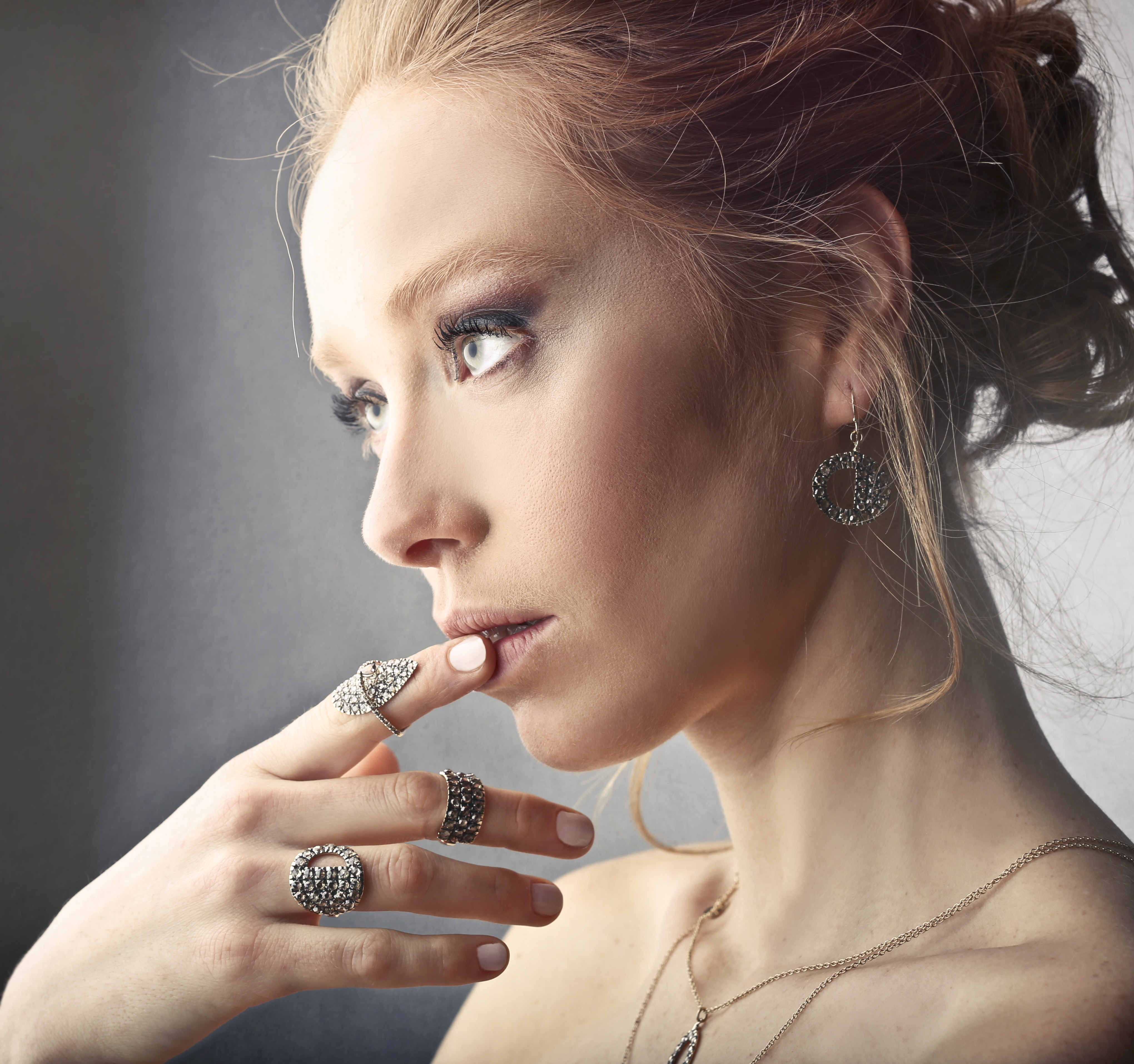 Woman Wearing Rings and Earrings, Attractive, Pretty, Necklace, Nude, HQ Photo