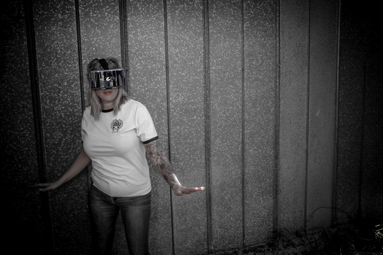 Woman Wearing Virtual Reality Headset Standing Beside Wall, Tattoos, Young, Woman, Wear, HQ Photo