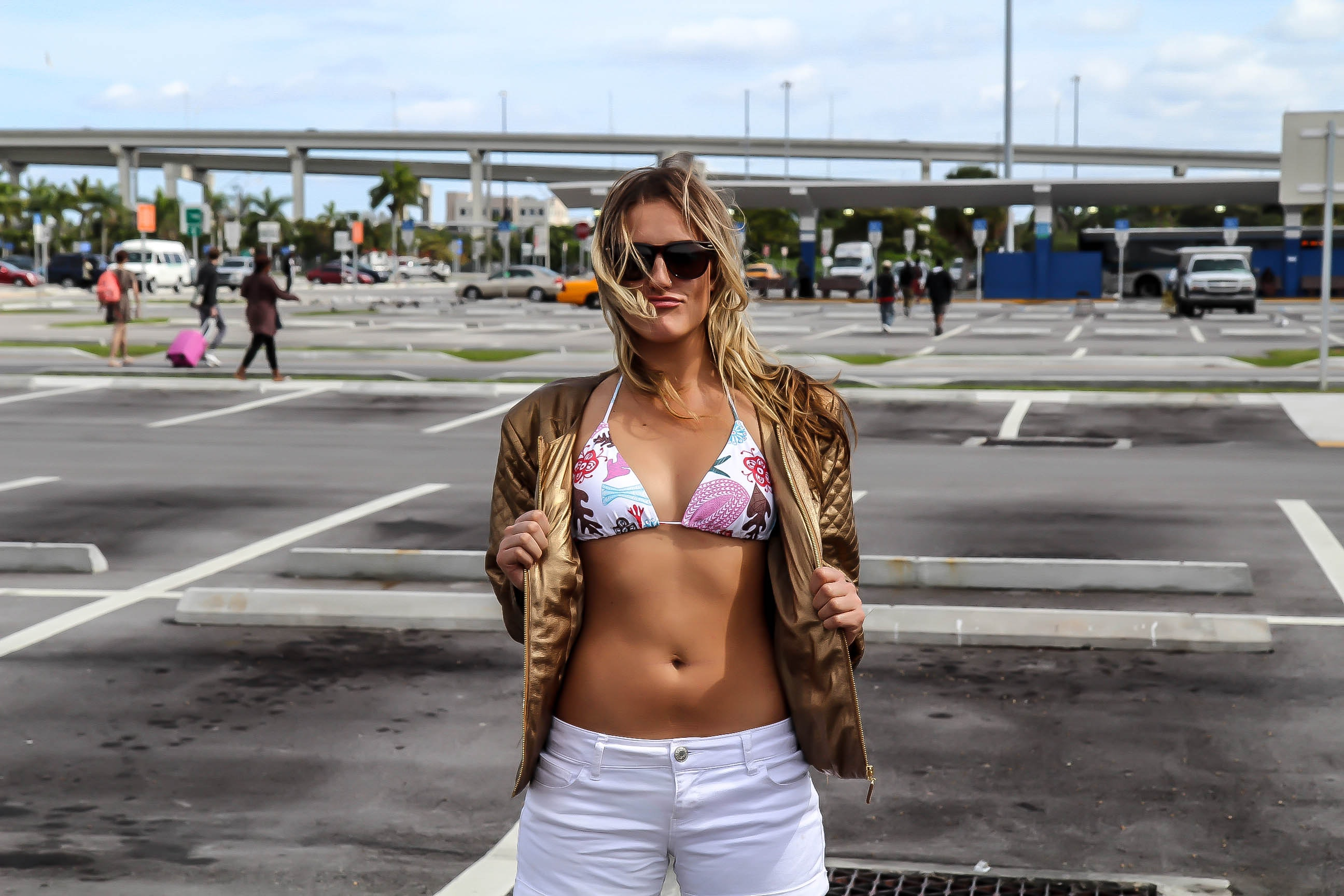Woman Wearing White and Pink Floral Bikini Top and White Shorts, Road, Young, Woman, Vehicles, HQ Photo
