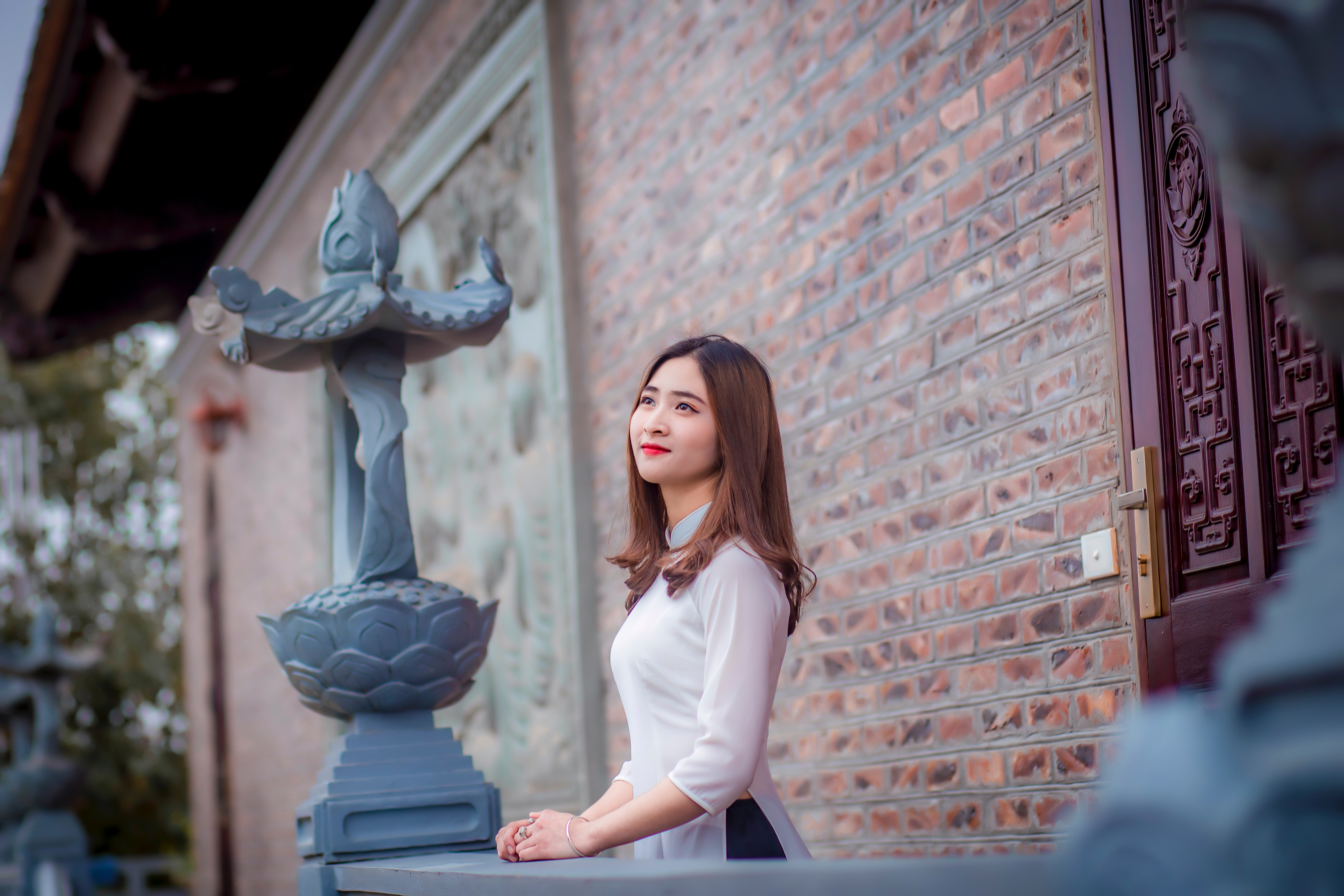 Woman Wearing White Blouse Looking at Sky, Person, Young, Woman, Window, HQ Photo