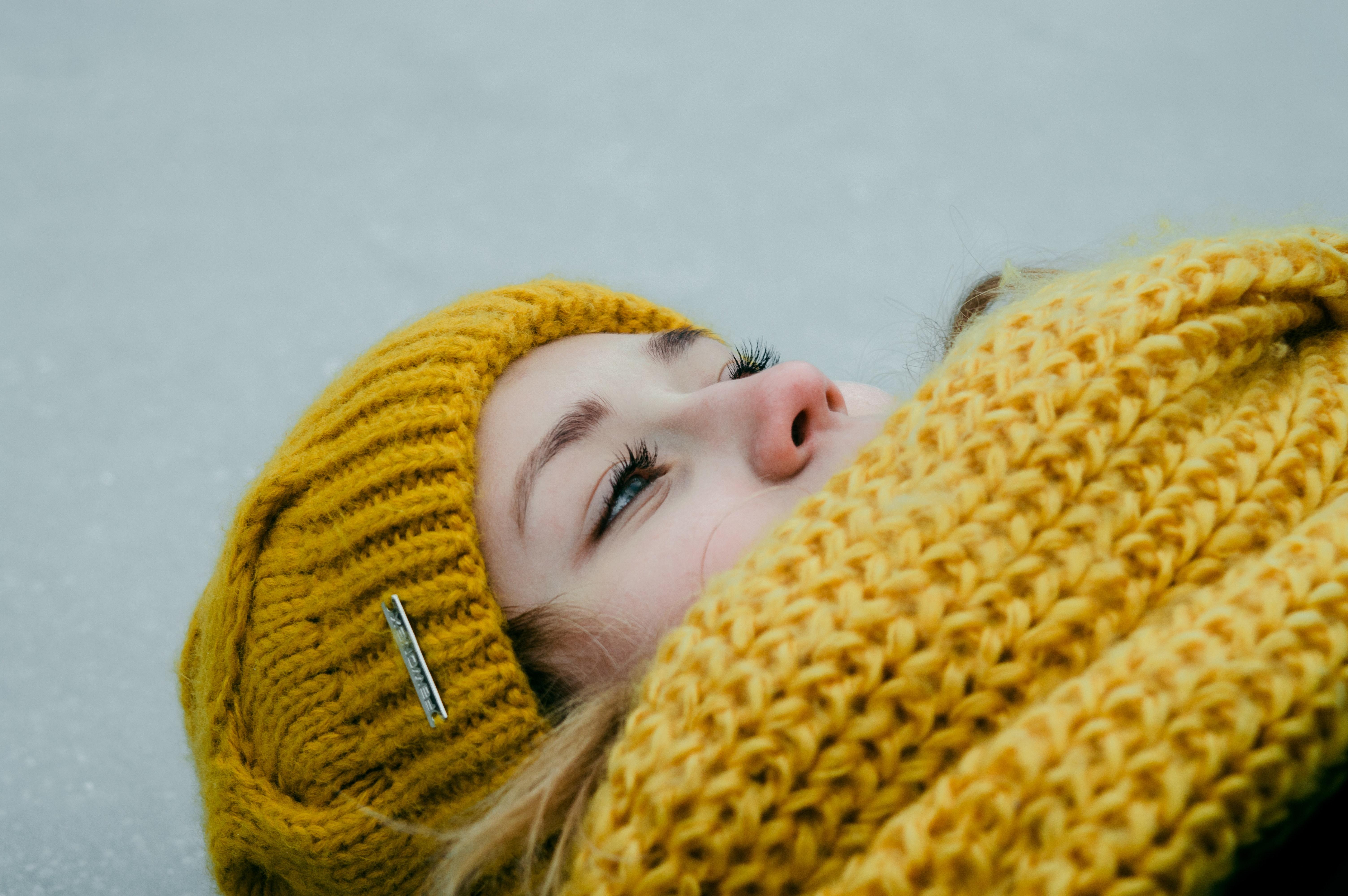Woman Wearing Yellow Crochet Cap and Scarf, Beanie, Yellow, Wool, Woman, HQ Photo