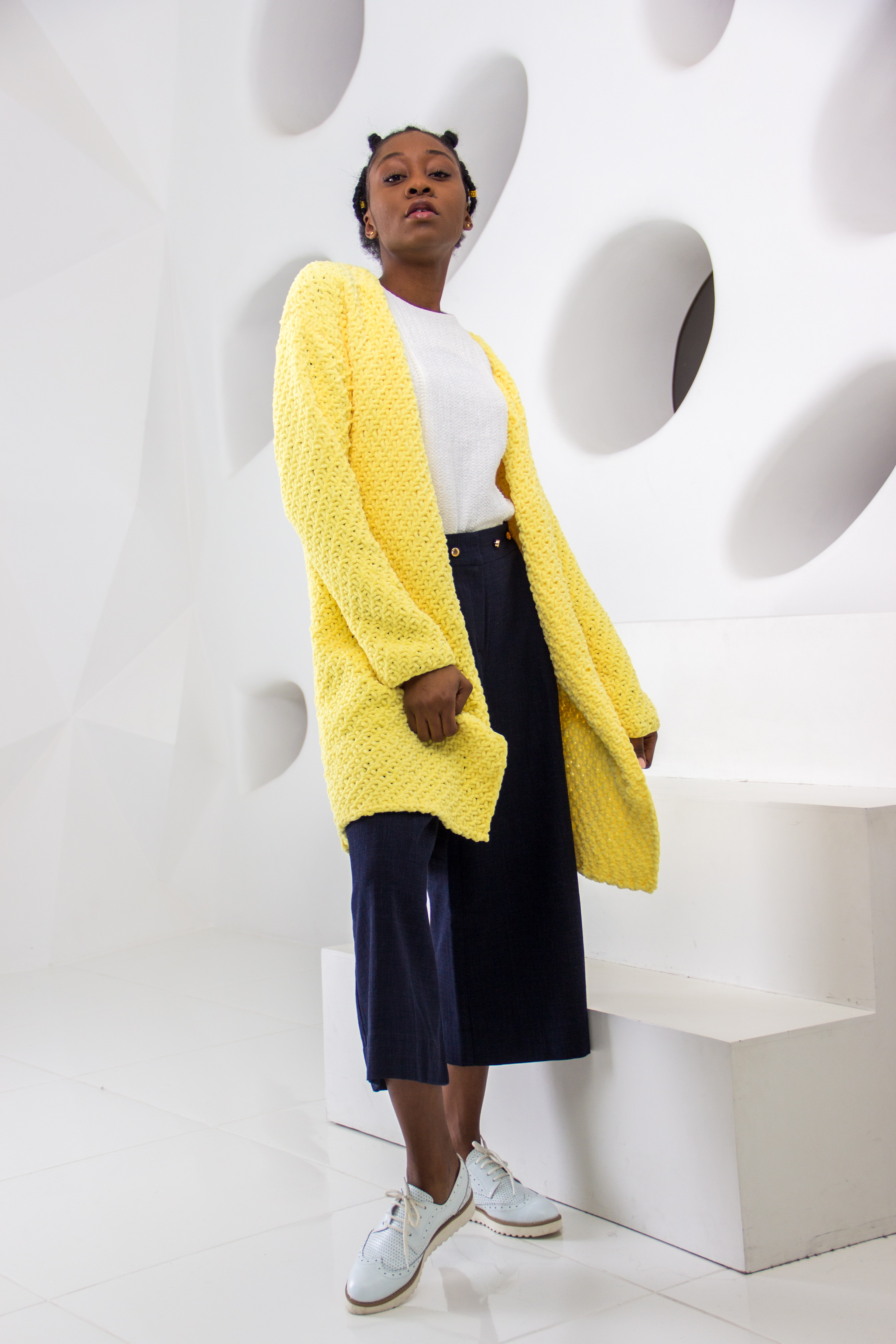 Woman Wearing Yellow Knit Cardigan Standing, Room, Pose, Photography, Shoes, HQ Photo