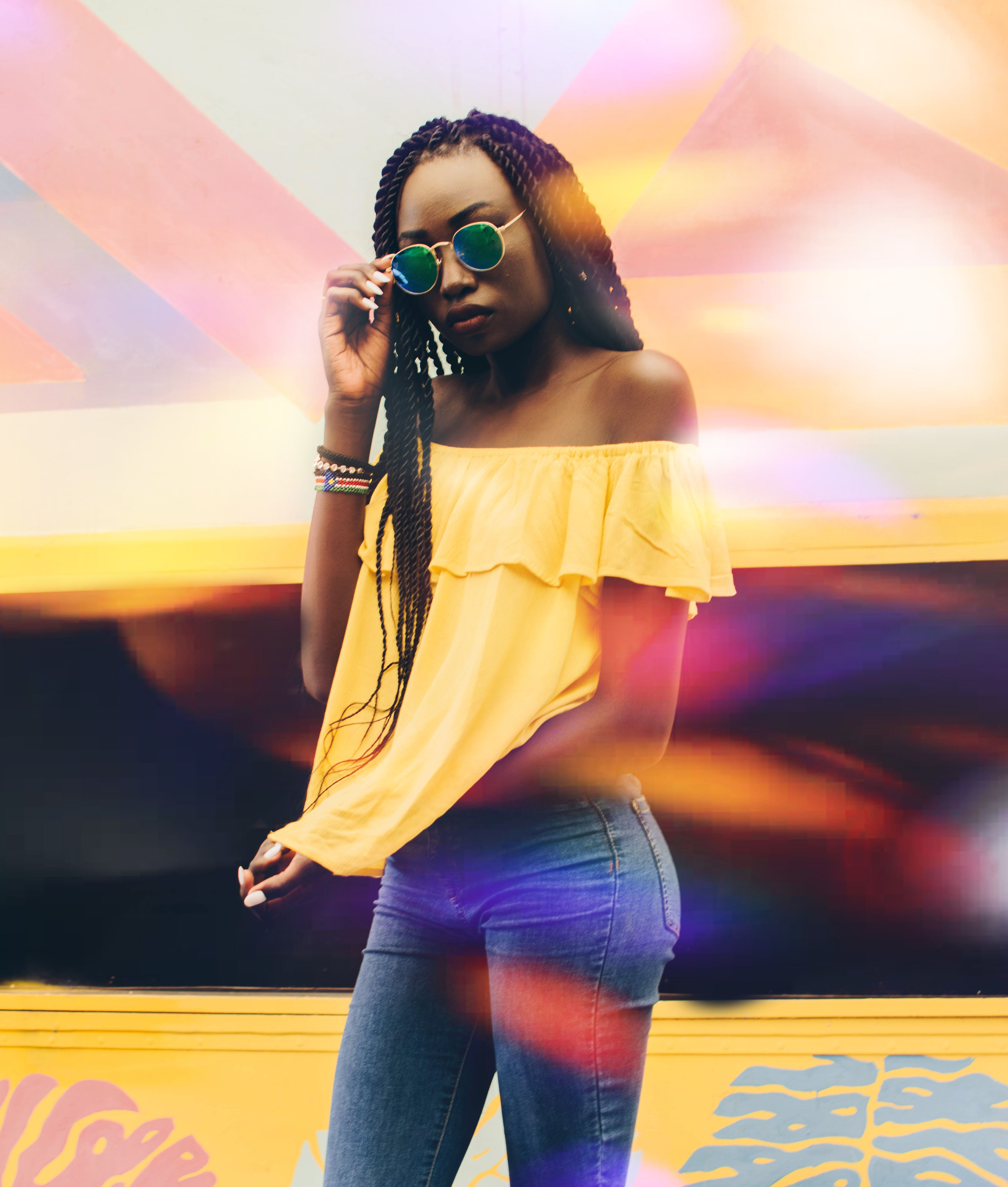 Woman Wearing Yellow Off-shoulder Top, Colorful, Fashion, Jeans, Long exposure, HQ Photo