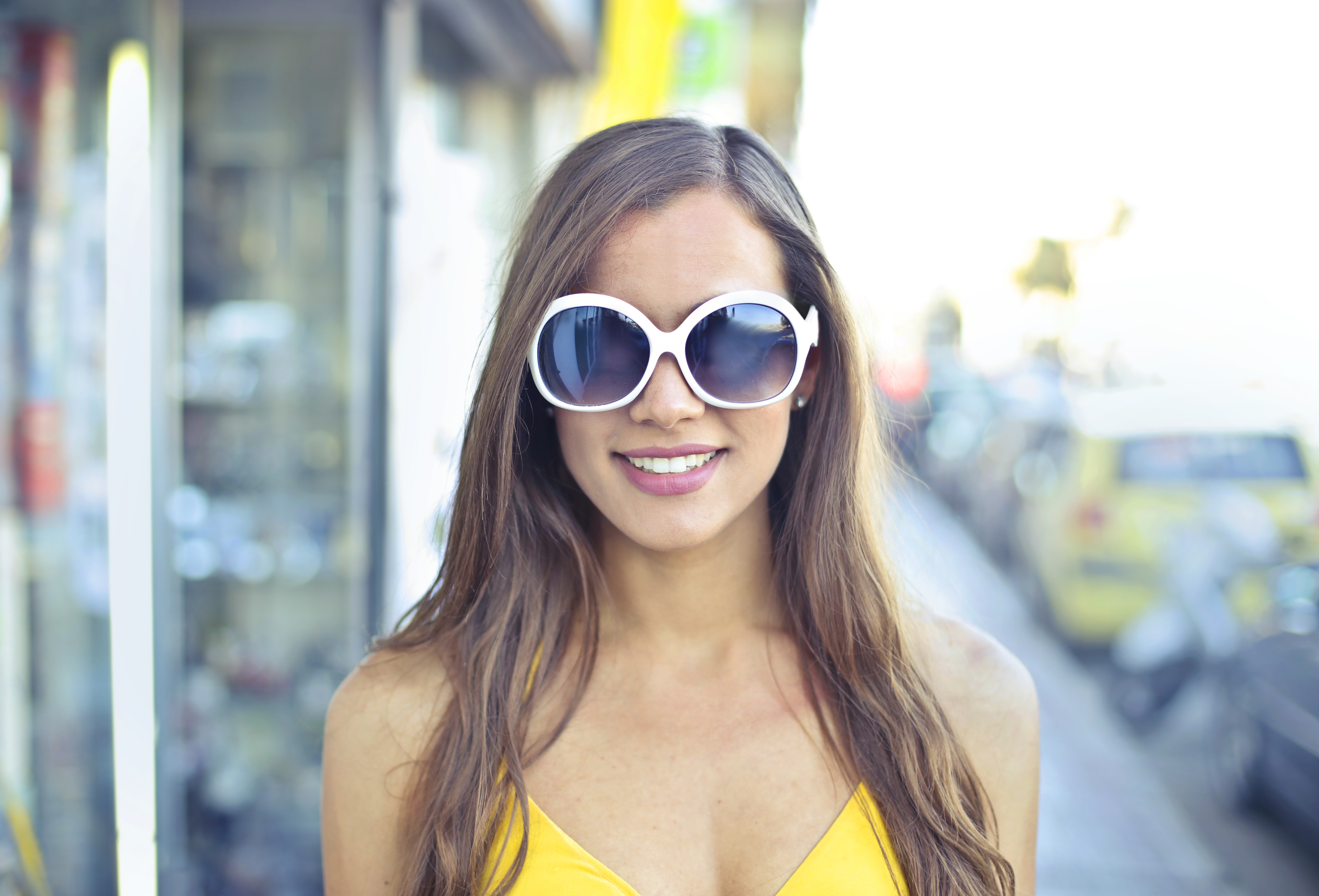 Woman Wearing Yellow Spaghetti Strap Top and Round Sunglasses, Person, Young, Woman, Wear, HQ Photo