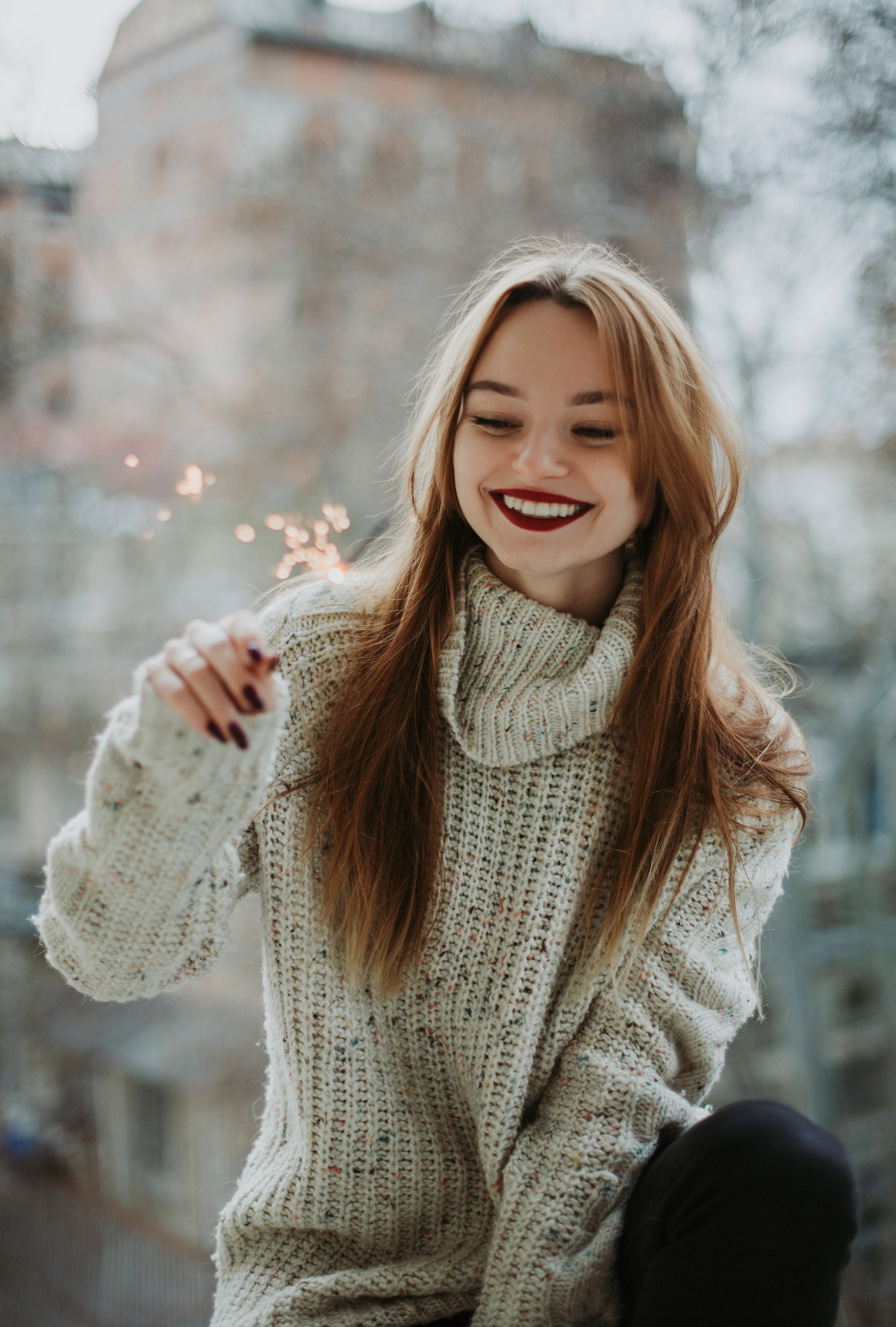 Woman Wears White Knit Turtleneck Long-sleeved Shirt With Blonde Hair, Pretty, Person, Smile, Woman, HQ Photo