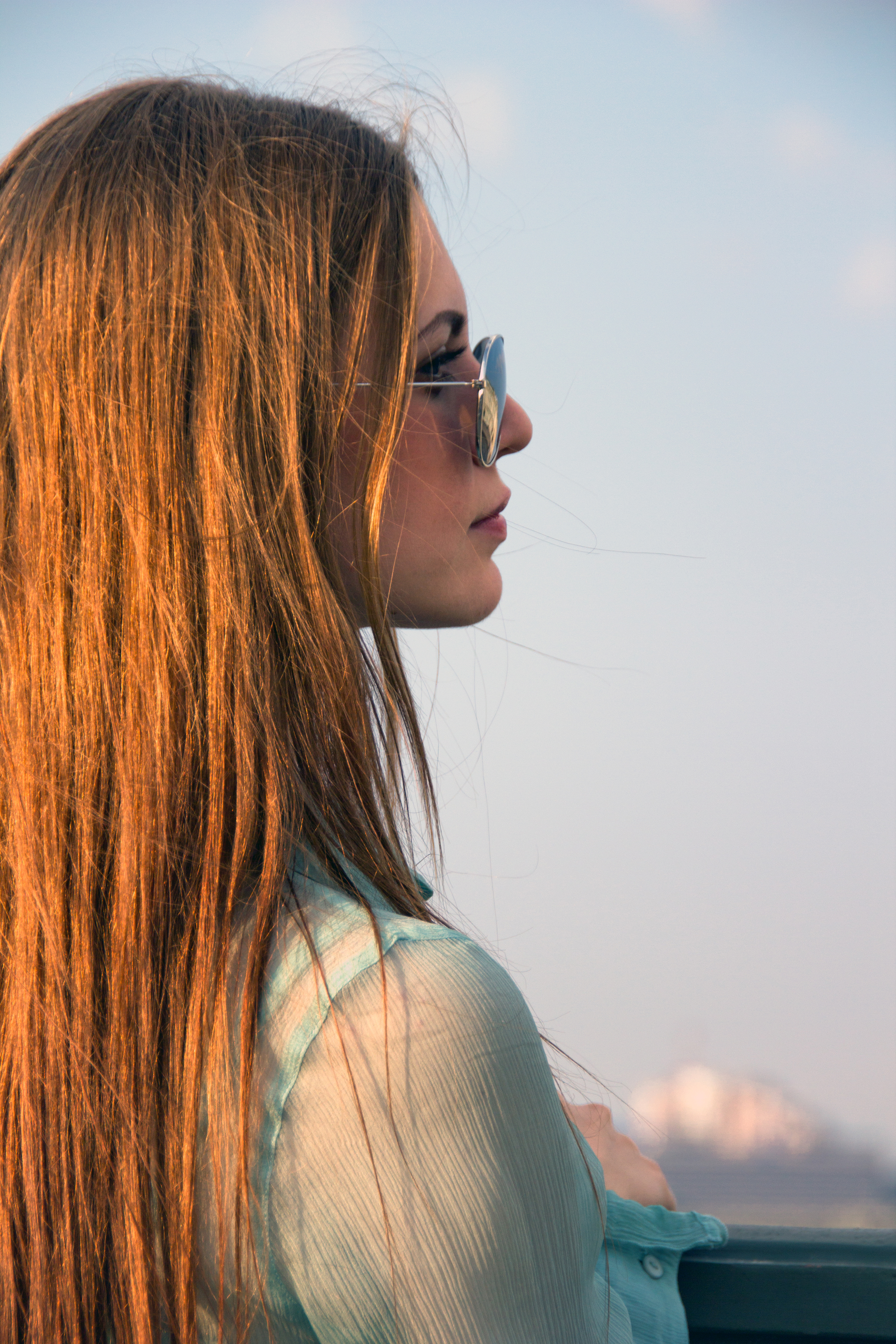 Woman with glasses, Attractive, Look, Summer, Sky, HQ Photo