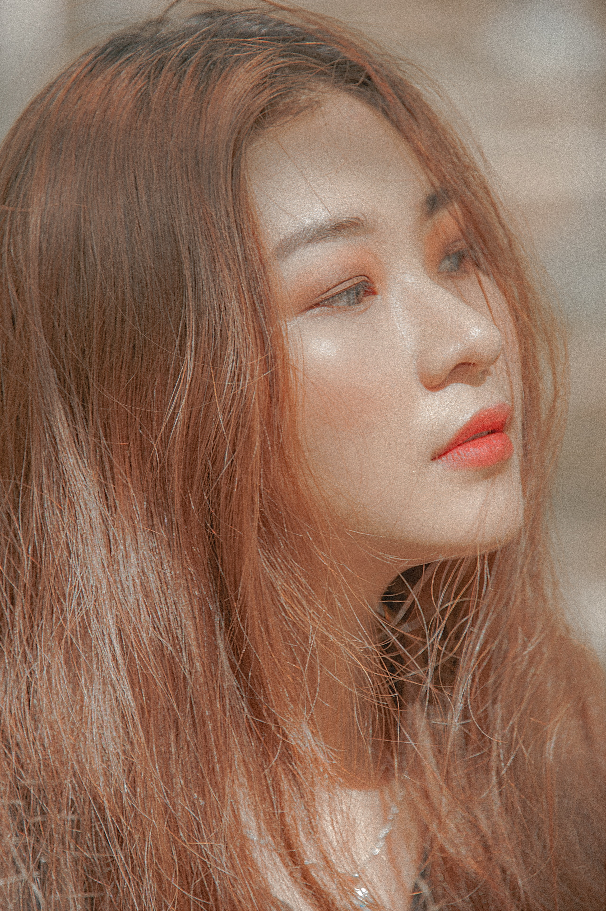 Woman With Red Hair and Orange Lipstick Taking Self Photo, Makeup, Young, Woman, Stylish, HQ Photo